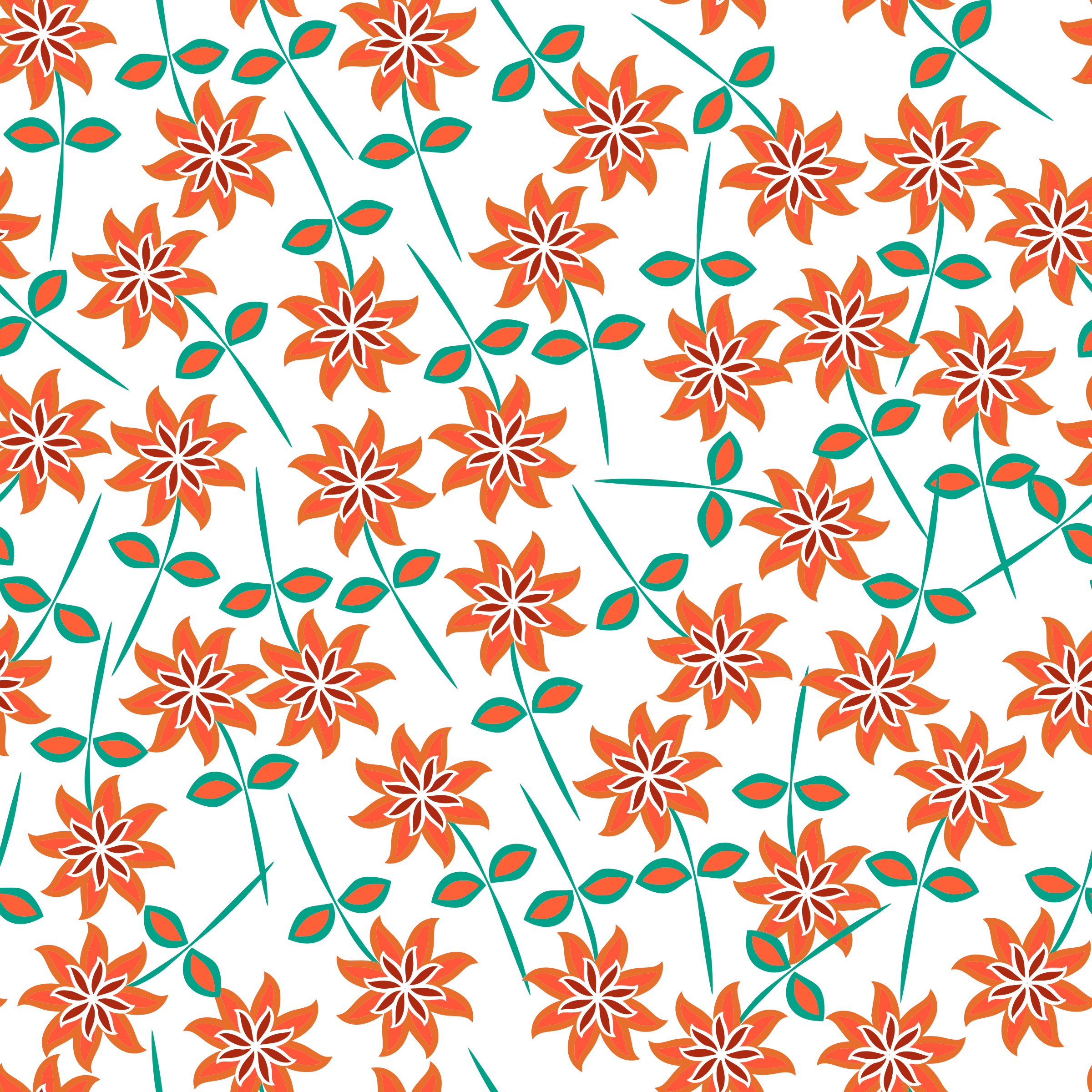 Clipart - Floral Seamless Pattern 7
