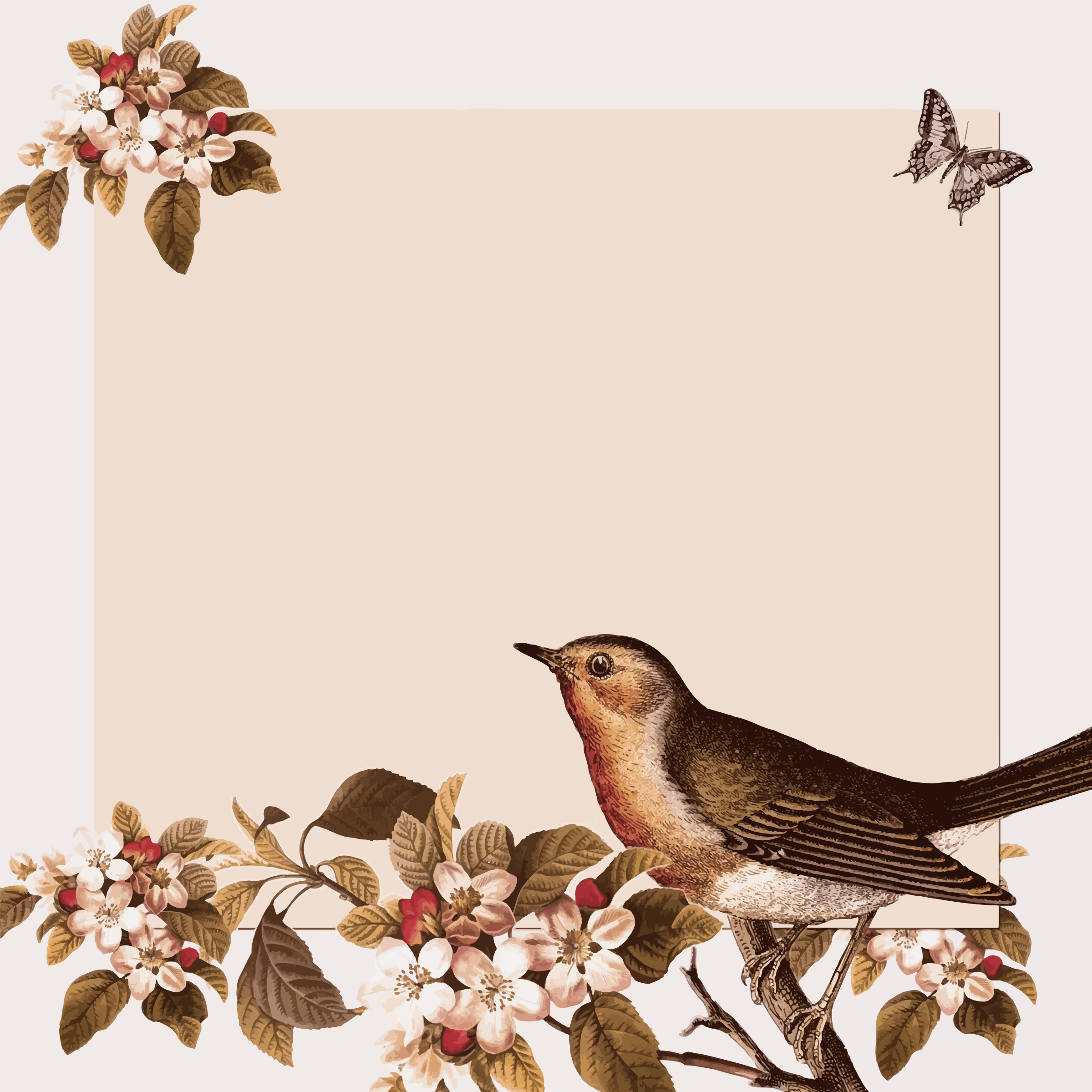 clipart vintage bird and floral background