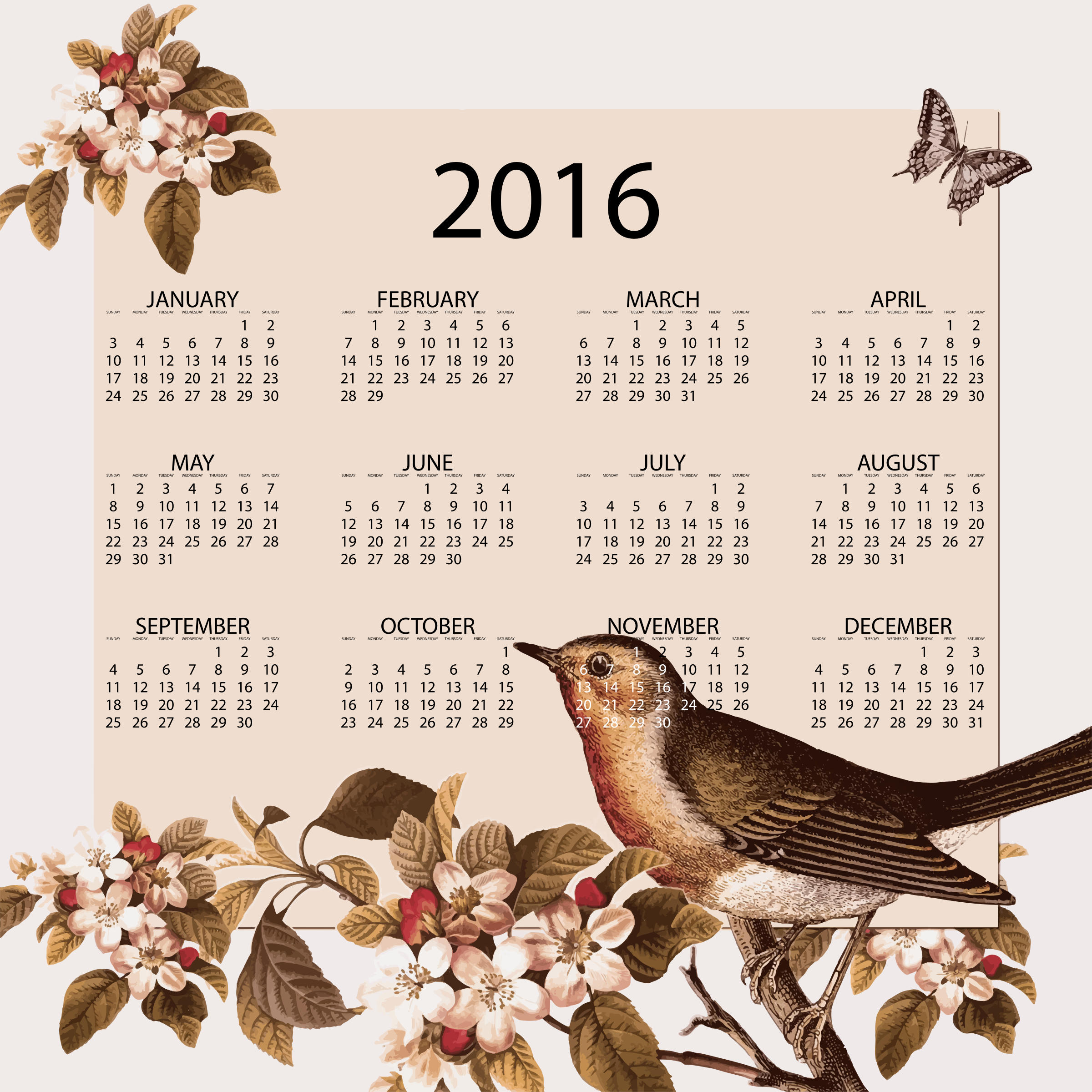 Vintage Bird And Floral 2016 Calendar by GDJ