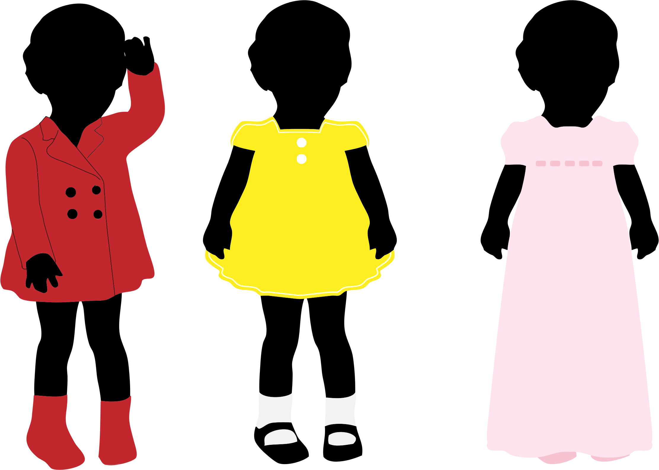 3 Girls Wearing Colorful Dresses Silhouette by GDJ