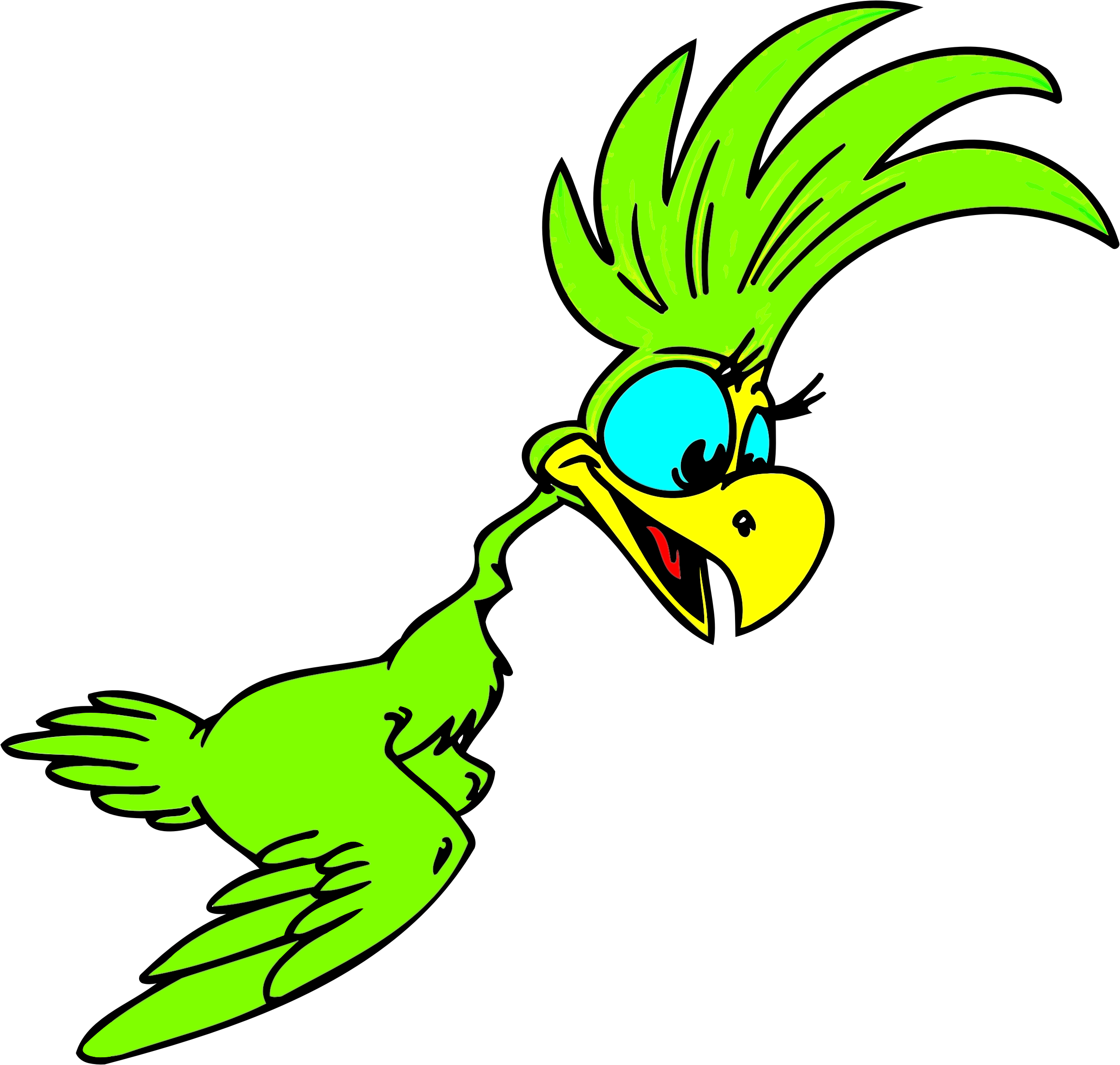 Green Cartoon Parrot by GDJ