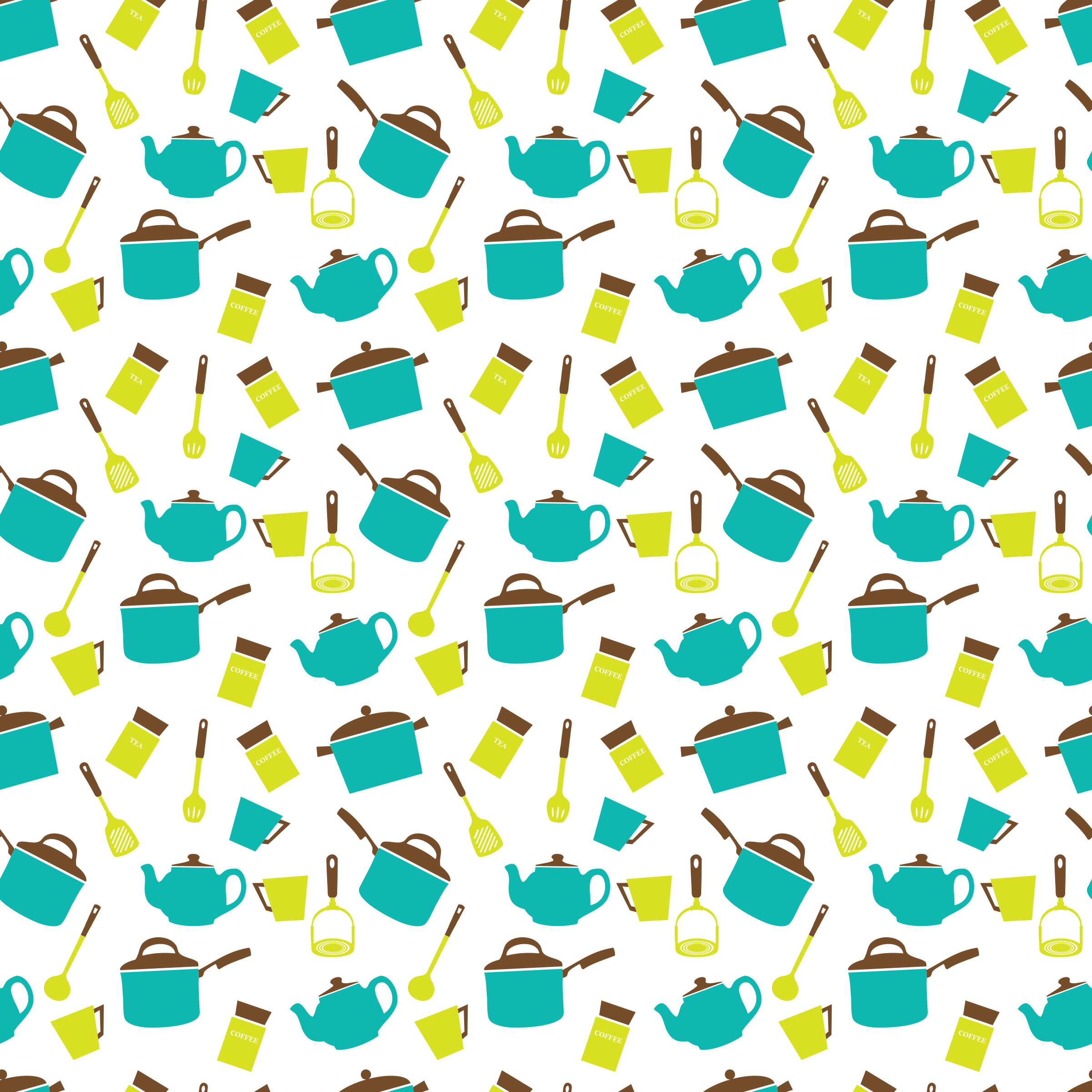 Kitchen Utensils Crockery Seamless Pattern By Yamachem