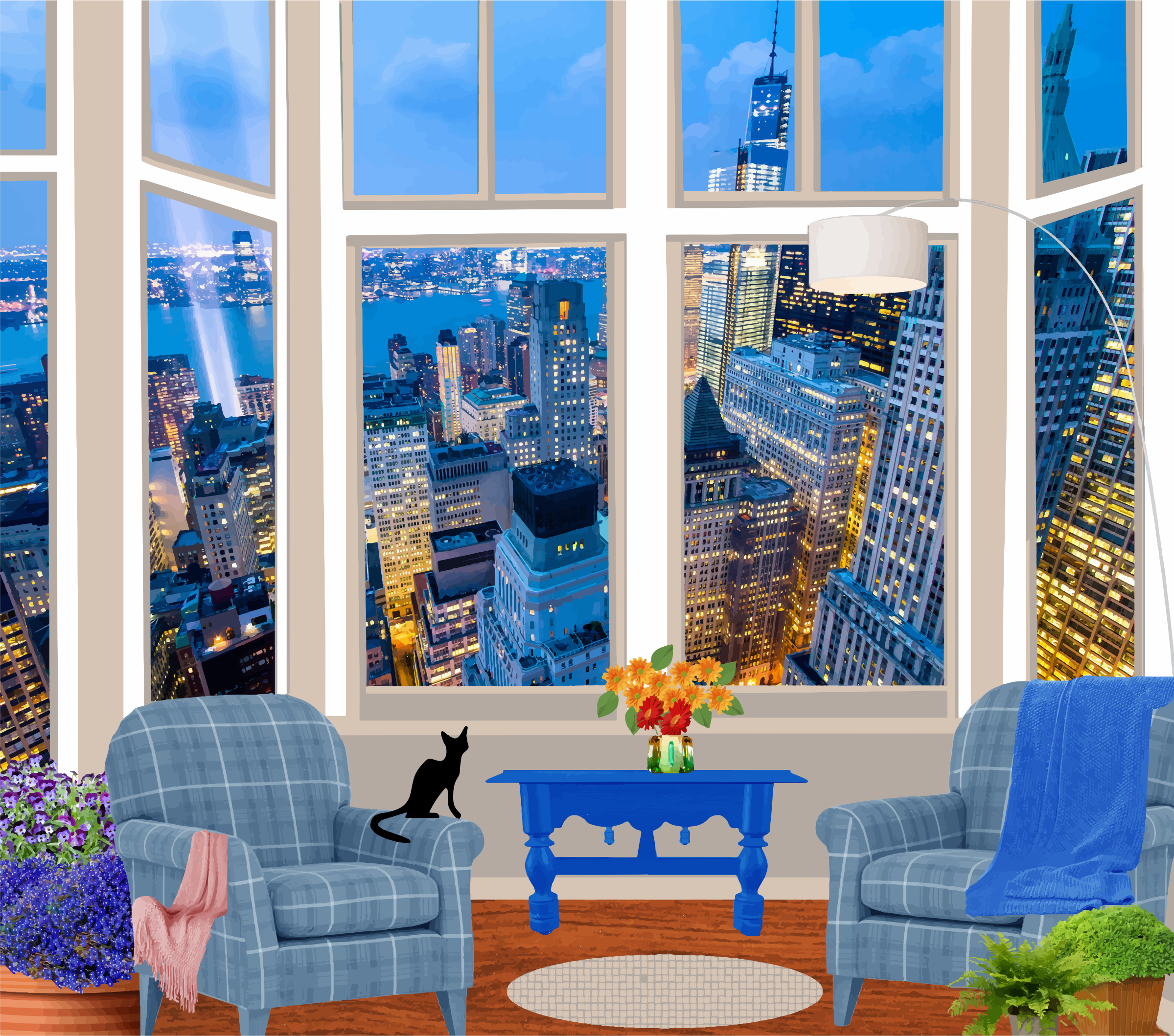 Fictional Apartment In A Skyscraper by GDJ