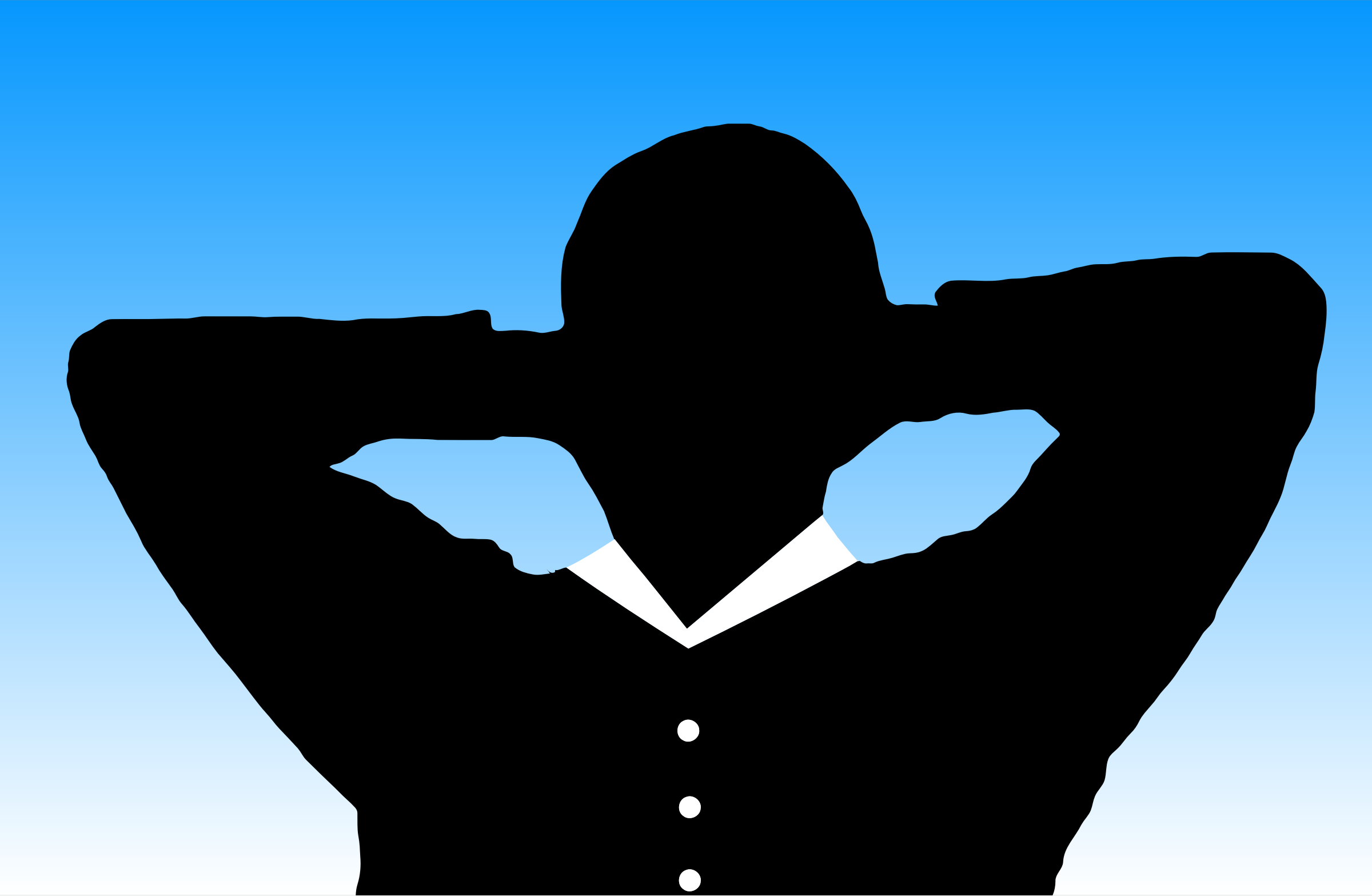 Man Relaxing With Hands Behind Head Silhouette With Background by GDJ