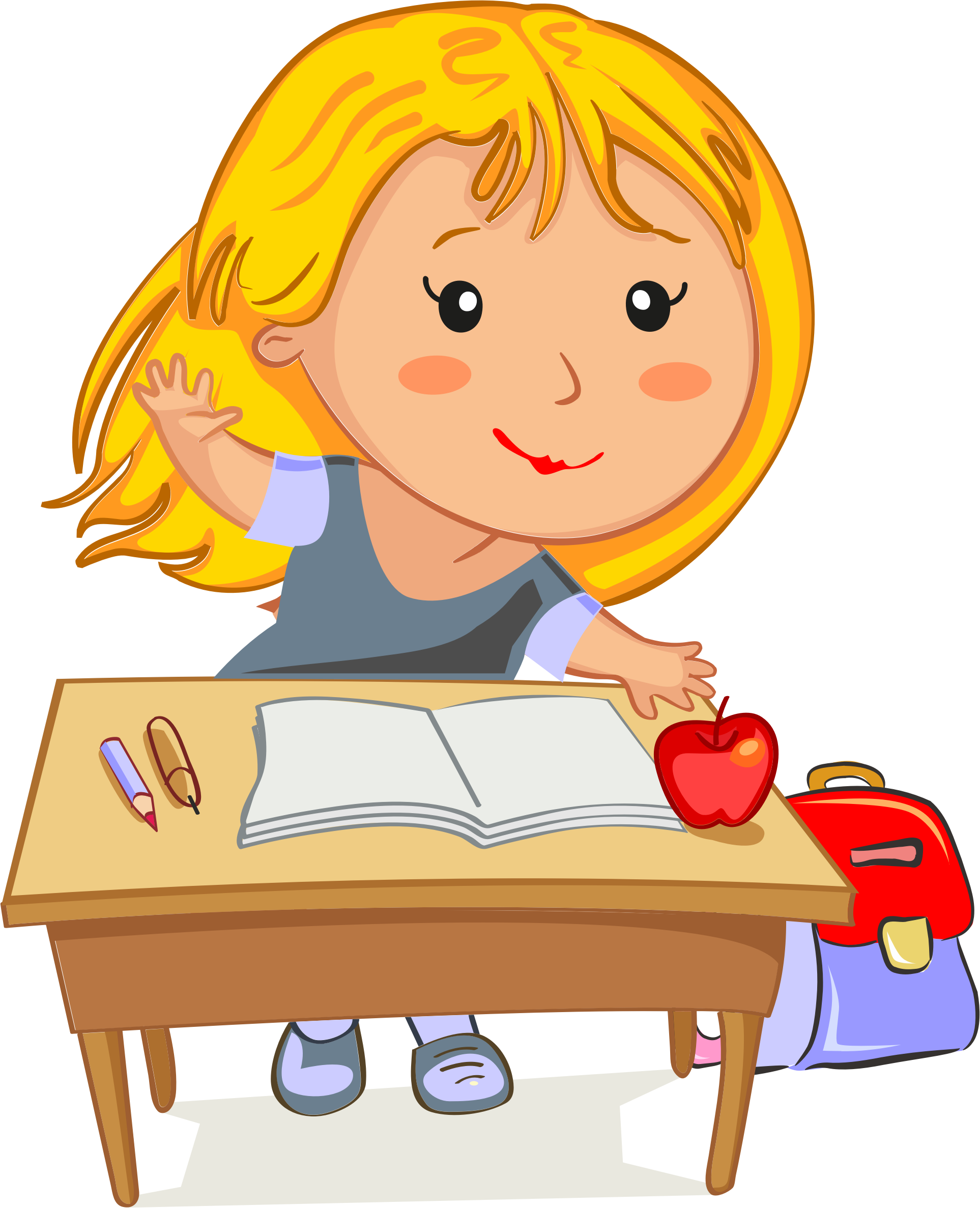 Blonde Girl Raising Her Hand Sitting At Her Desk In School by GDJ