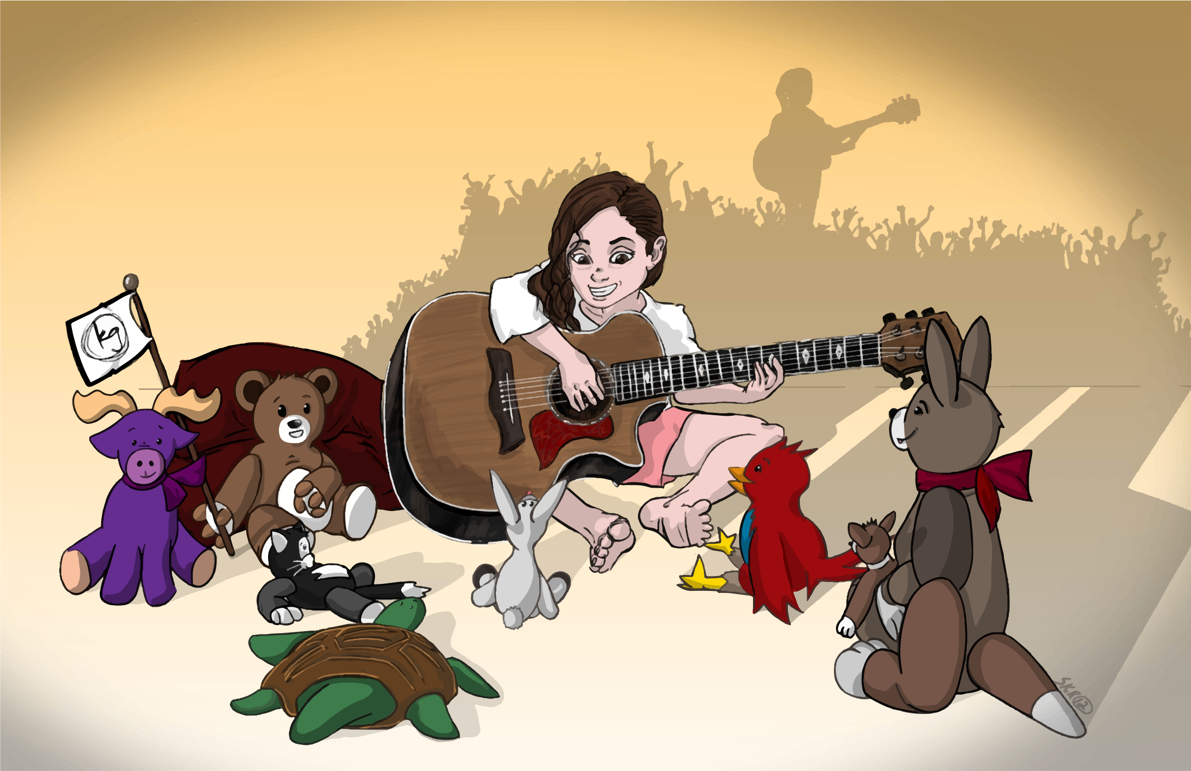 Girl Playing Guitar For Animals by GDJ