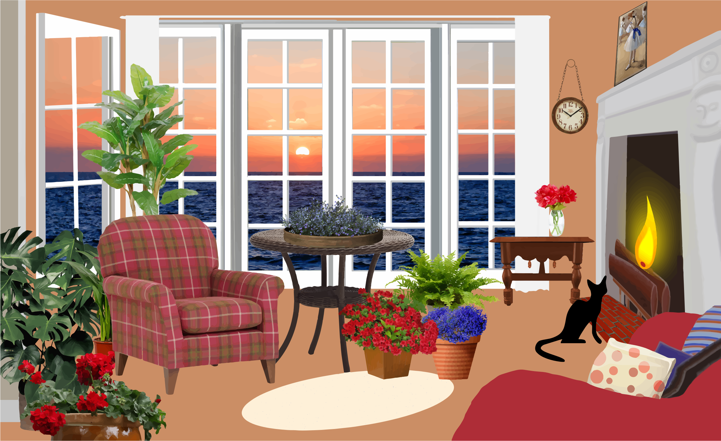 clipart fictional living room with an ocean view