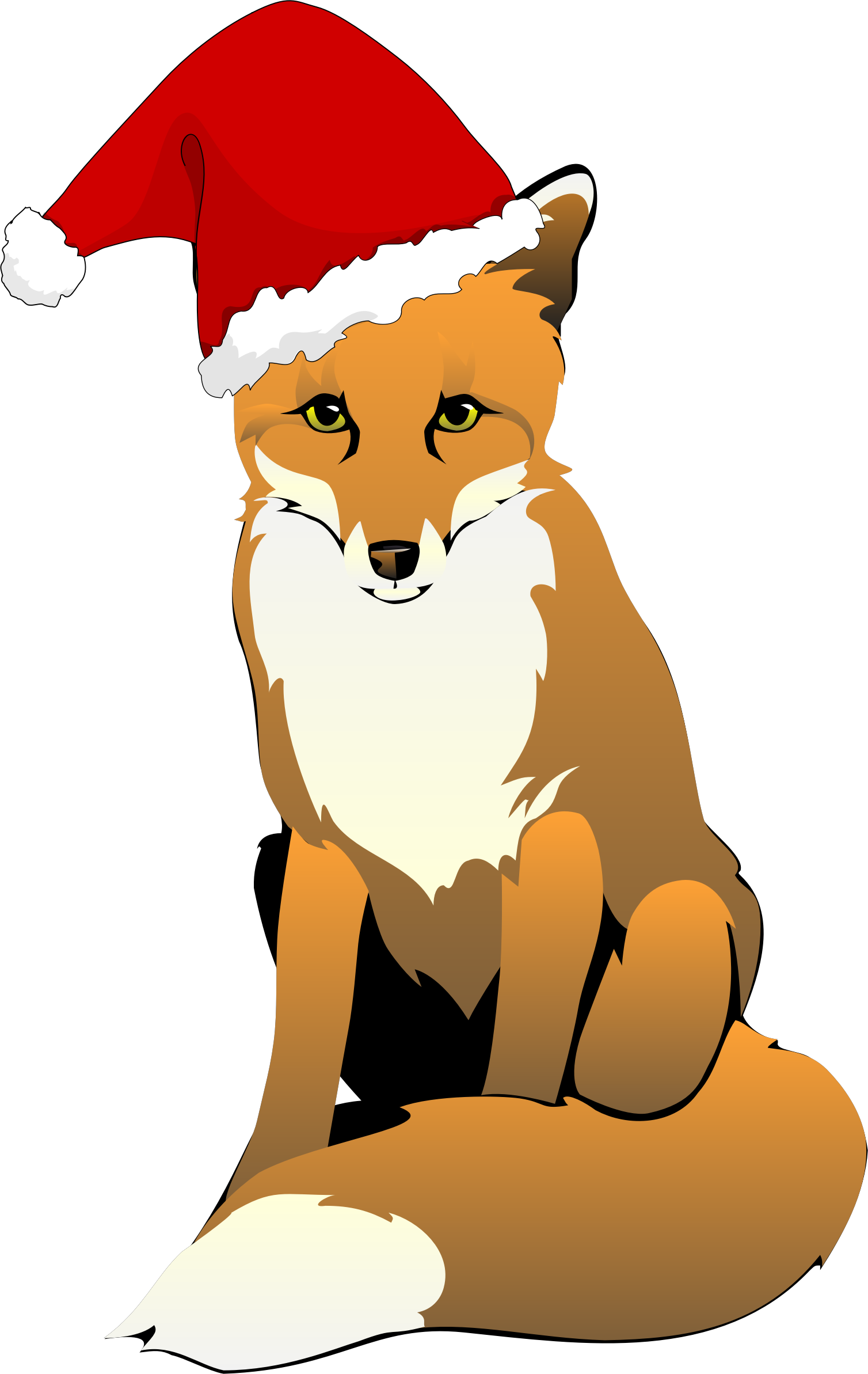 Fox Wearing Santa Hat by GDJ