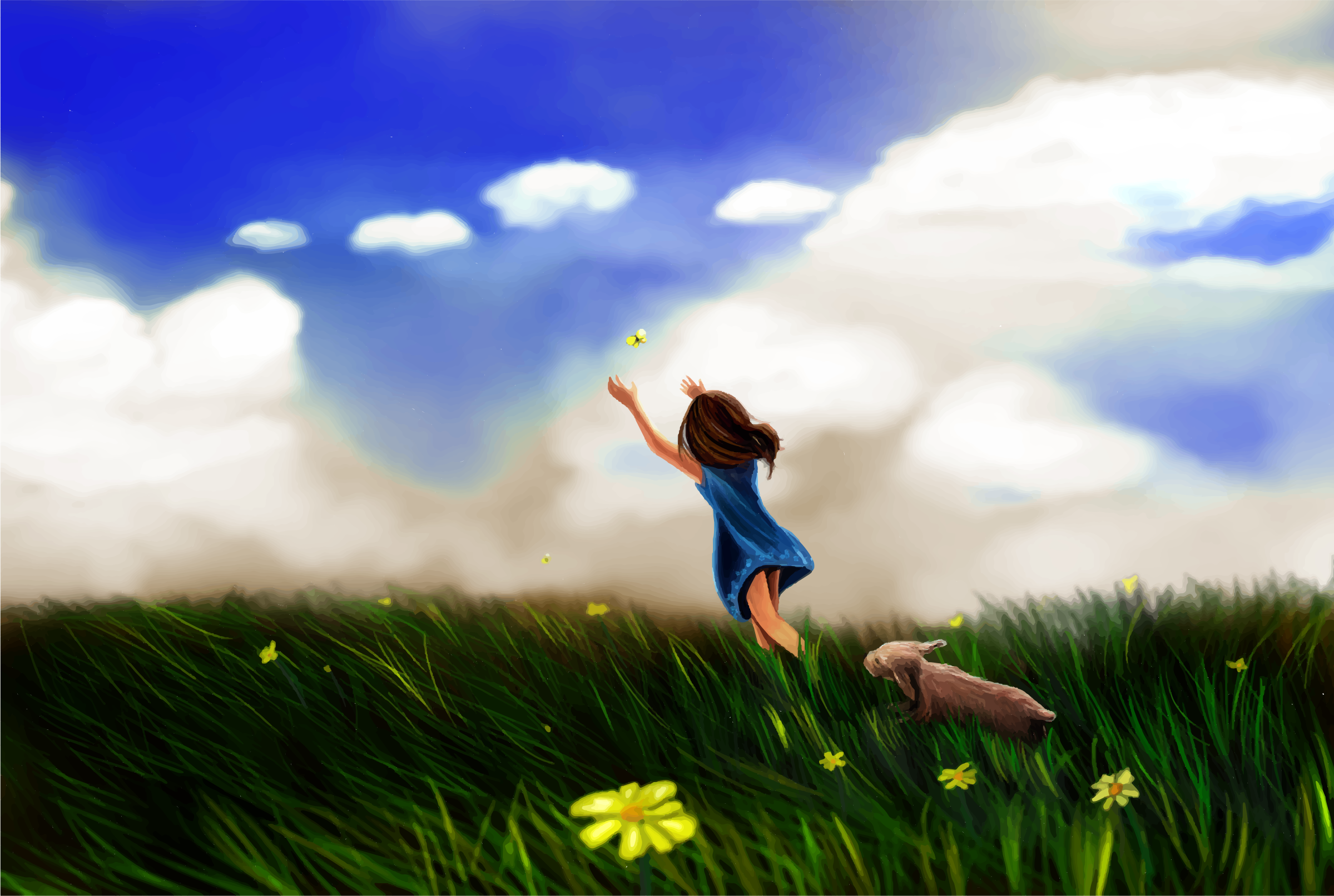Little Girl Chasing Butterfly In An Open Field by GDJ