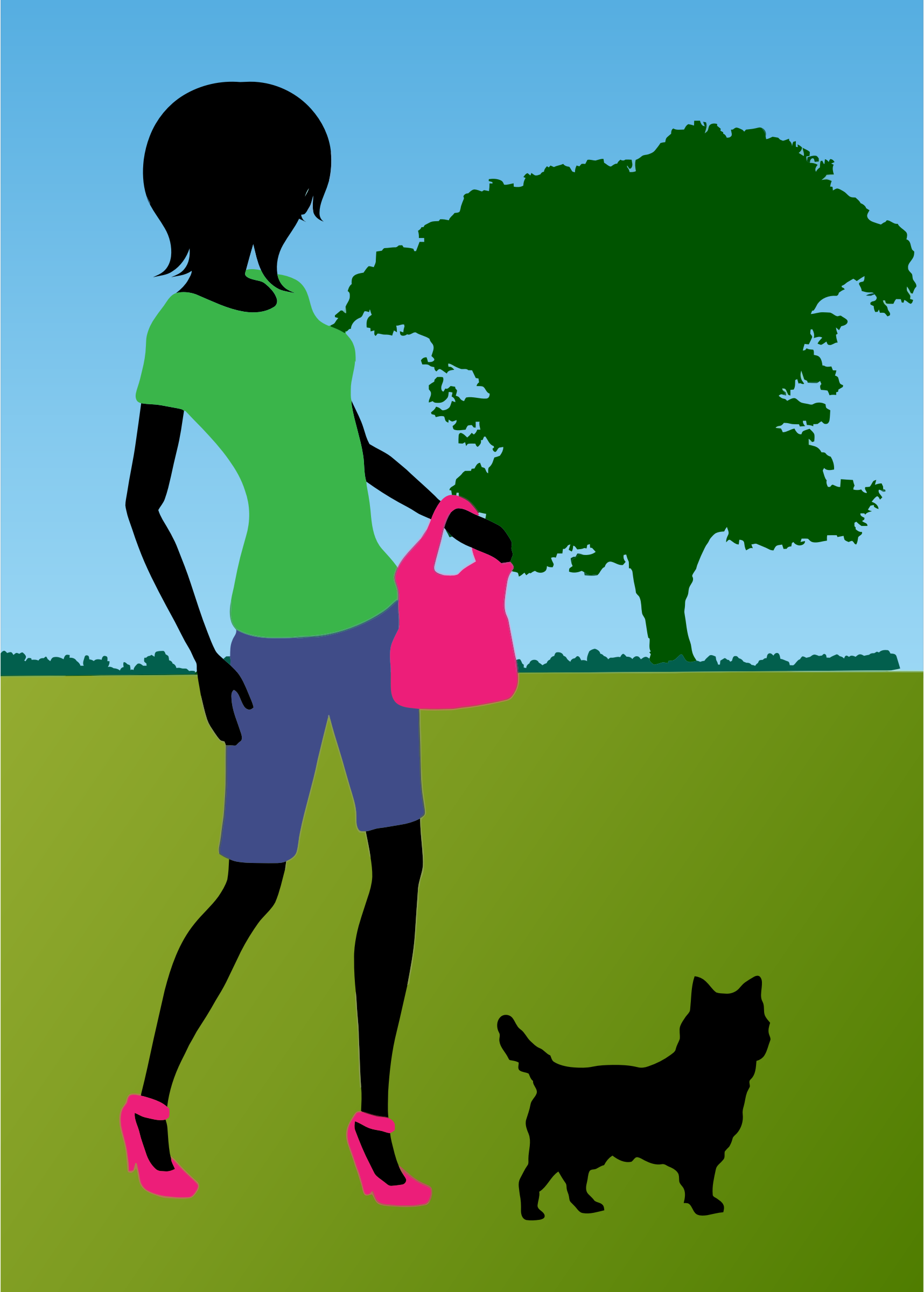 Woman Walking Dog In Park by GDJ