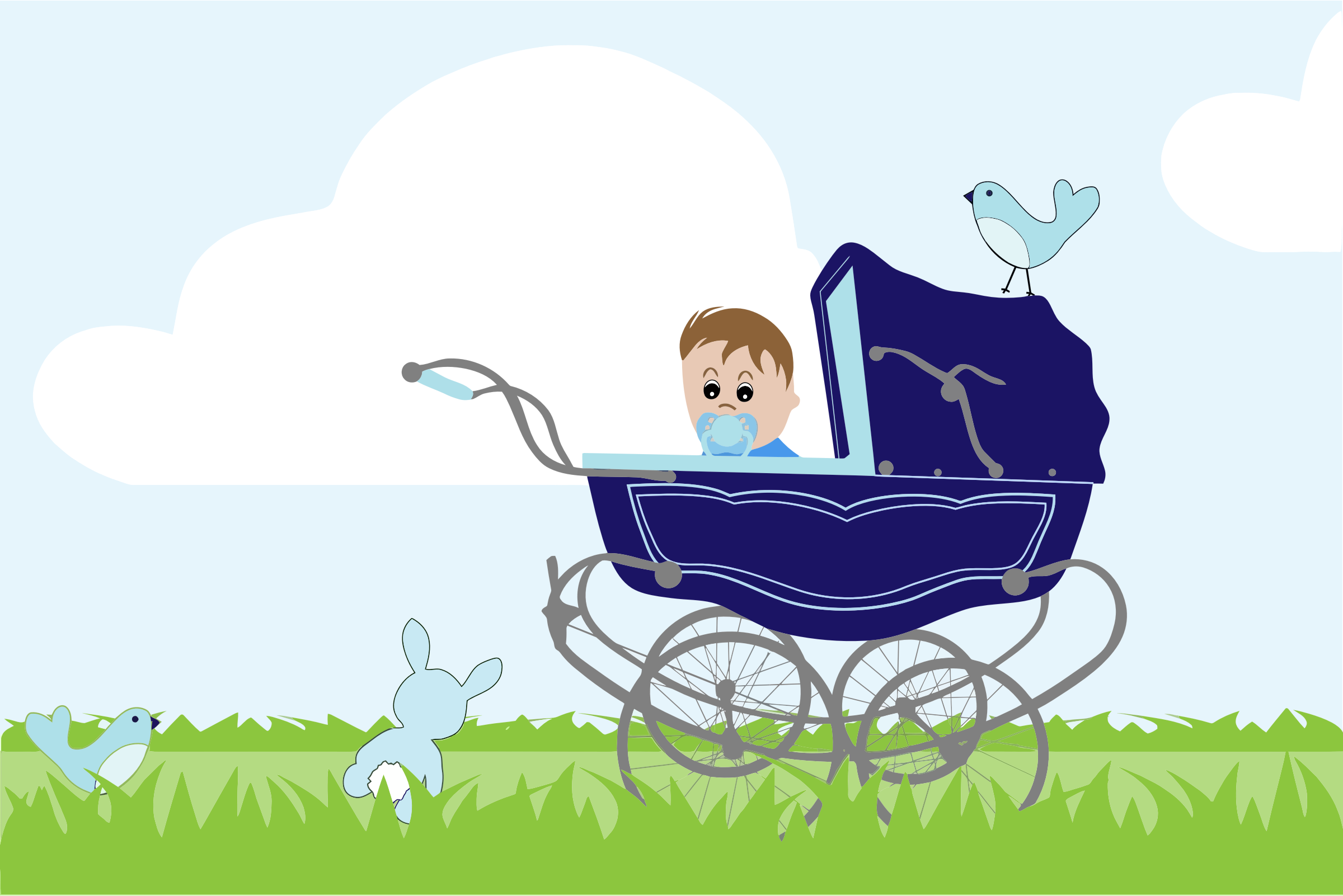 clipart baby boy stroller in the field. Black Bedroom Furniture Sets. Home Design Ideas