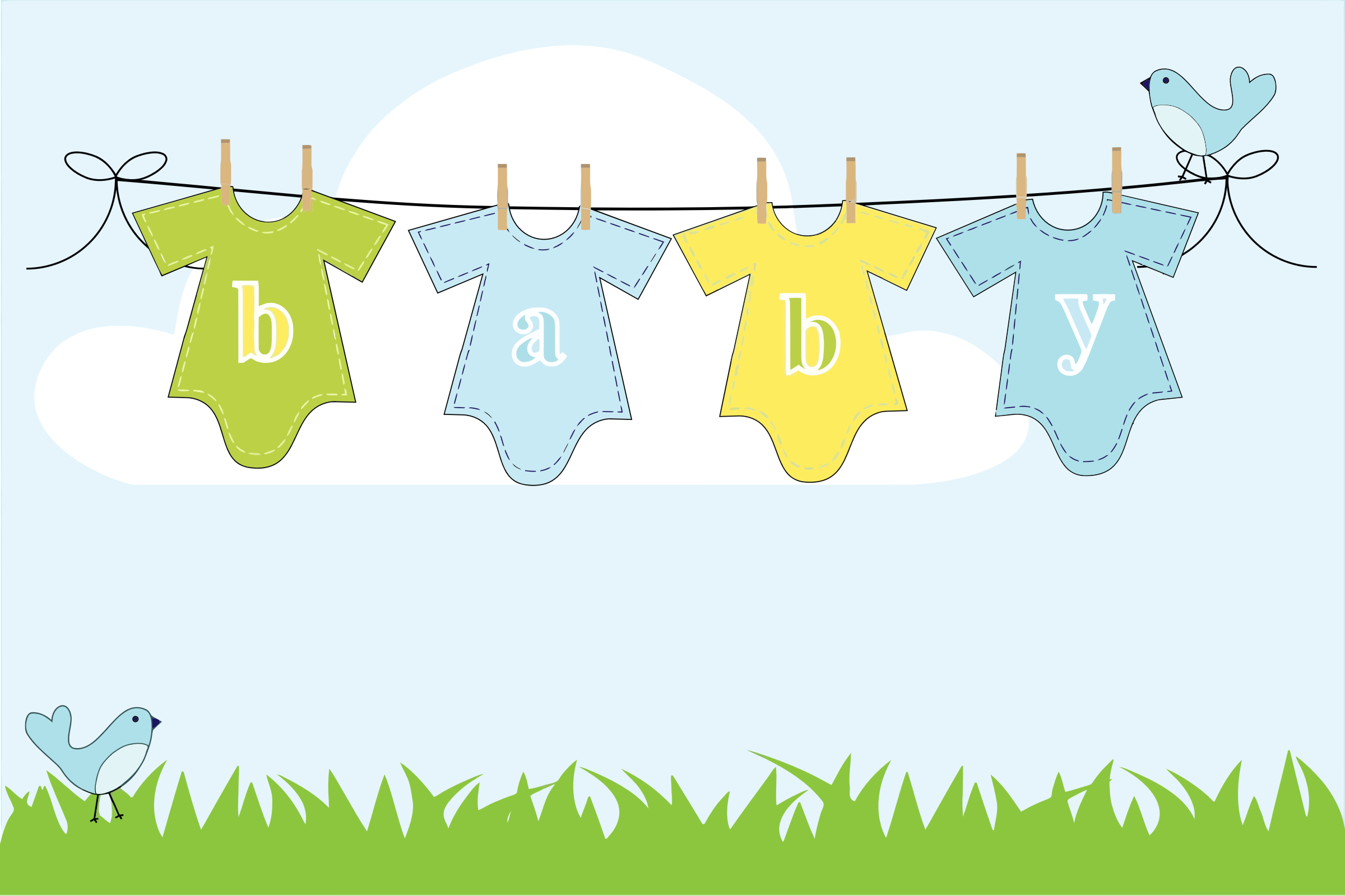 clipart baby clothes hanging on clothesline outside rh openclipart org baby shower clothesline clipart baby clothesline clipart free