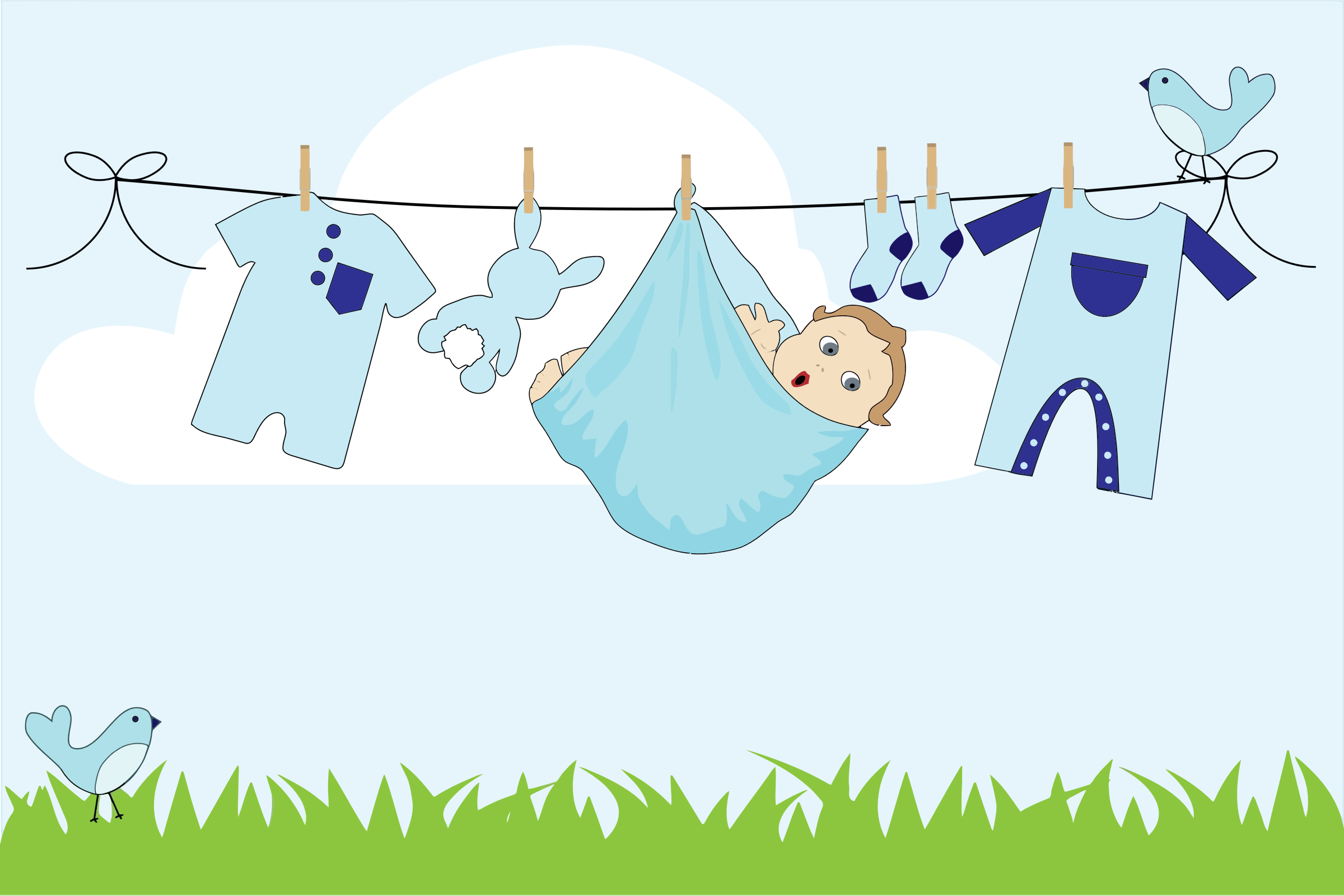 clipart baby boy hanging on clothesline outside