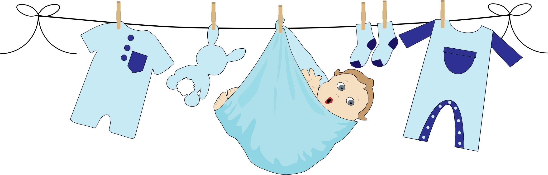 Baby Boy Hanging On A Clothesline by GDJ