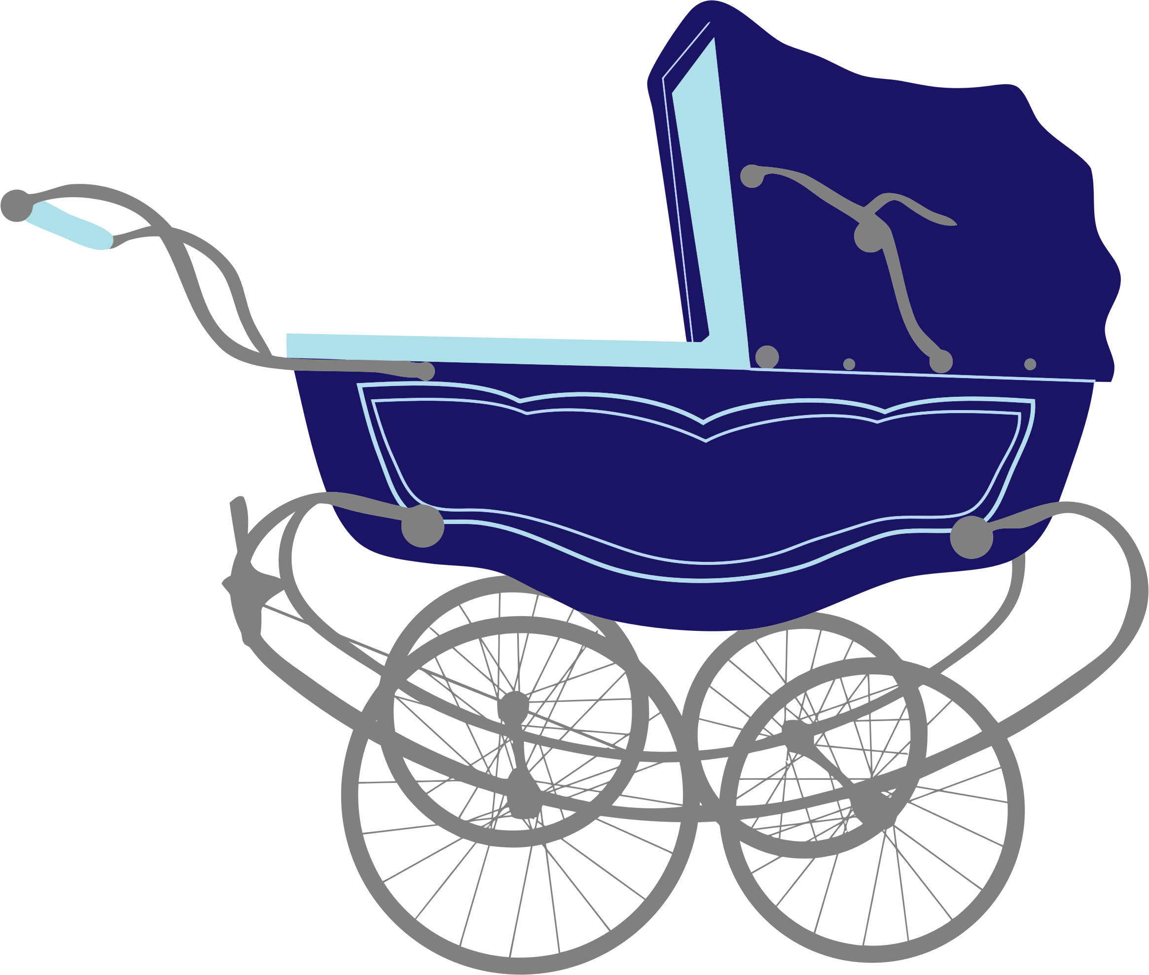Clipart - Vintage Blue Baby Stroller Carriage