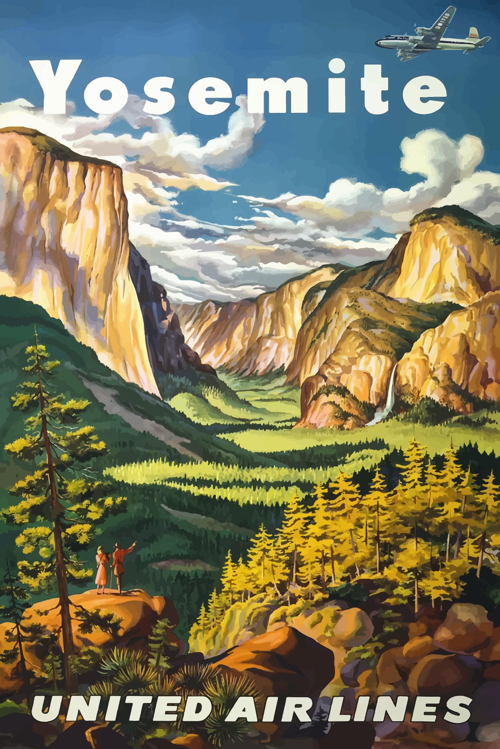 Vintage National Park Posters Part - 27: Vintage Travel Poster Yosemite National Park