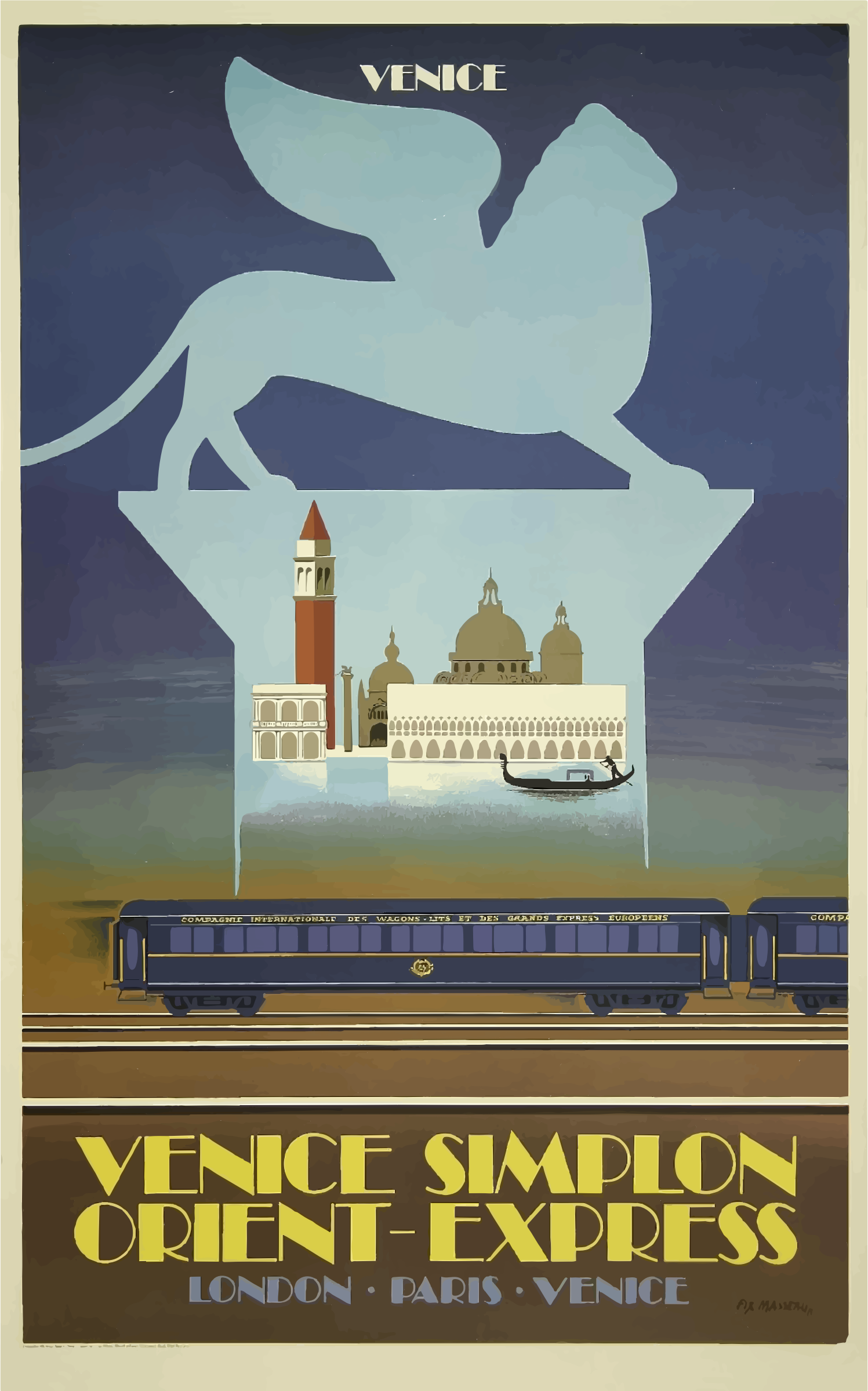 Vintage Travel Poster Venice Orient Express by GDJ