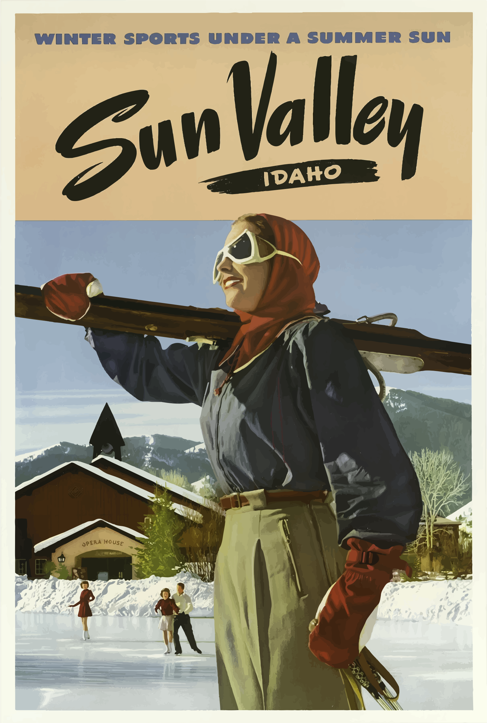 Vintage Travel Poster Sun Valley Idaho 2 by GDJ