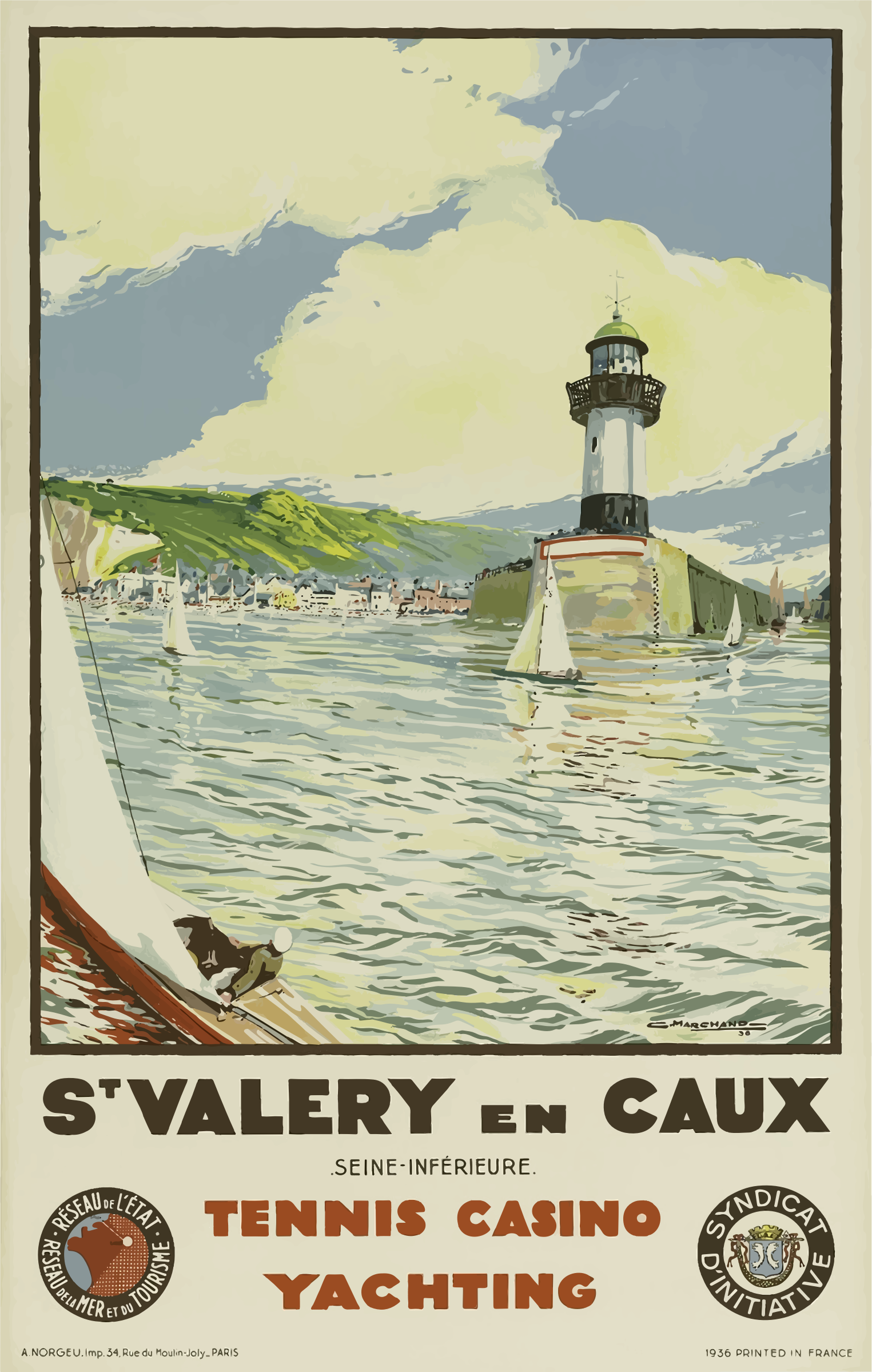 Vintage Travel Poster St Valery En Caux France by GDJ