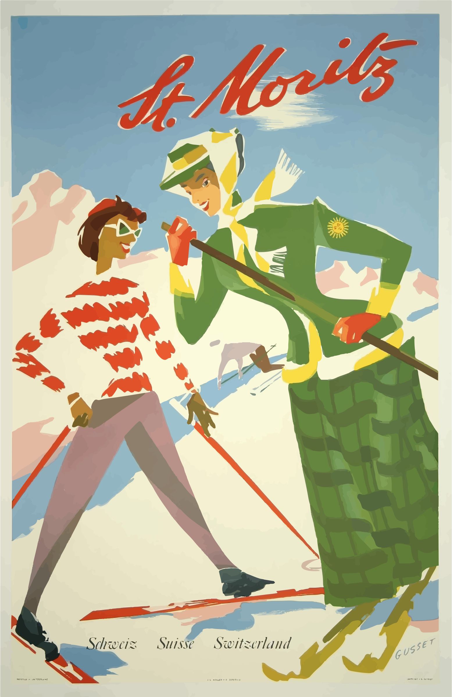 Vintage Travel Poster St Moritz Switzerland by GDJ
