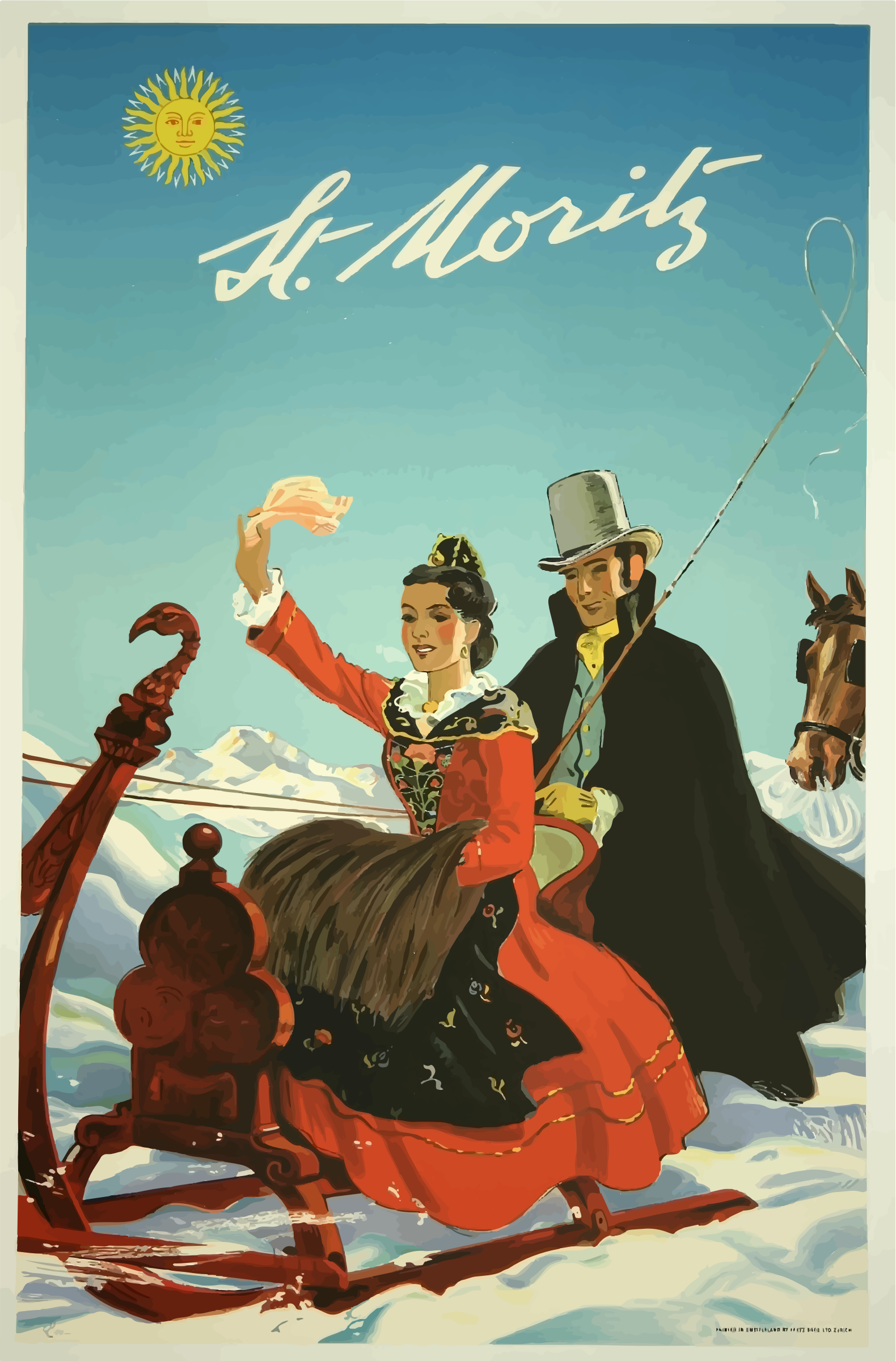 Vintage Travel Poster St Moritz Switzerland 2 by GDJ