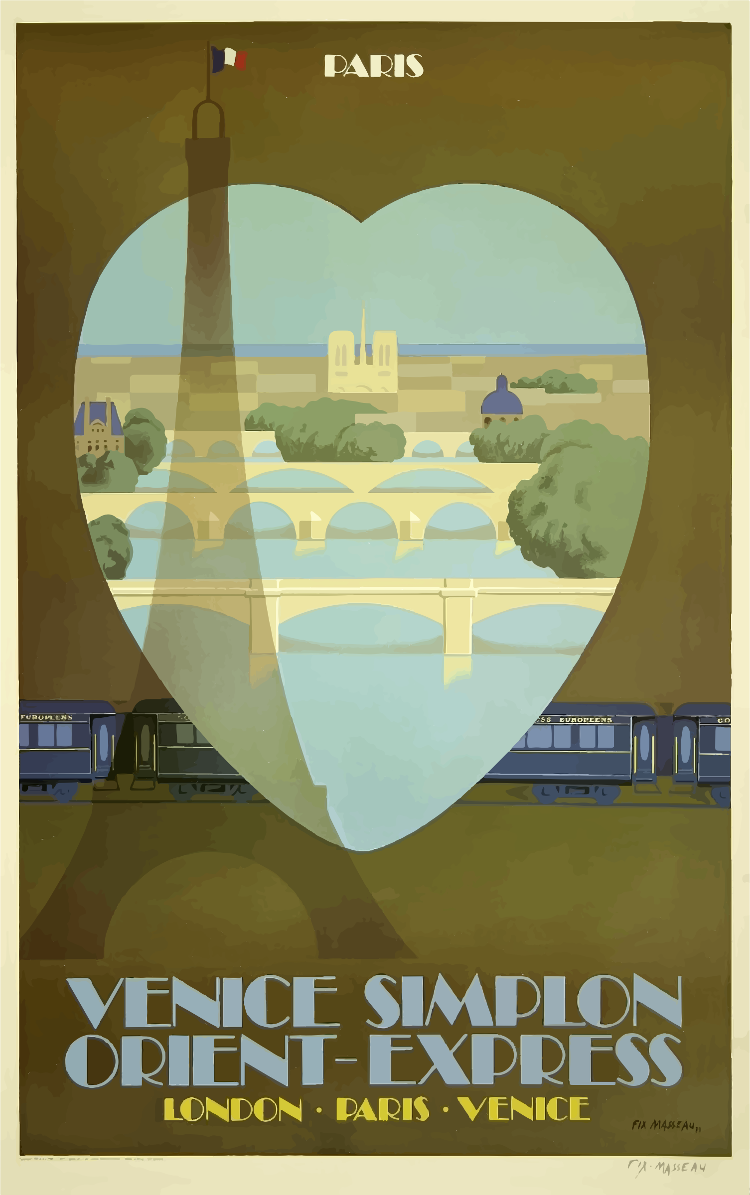 Vintage Travel Poster Paris France Orient Express by GDJ