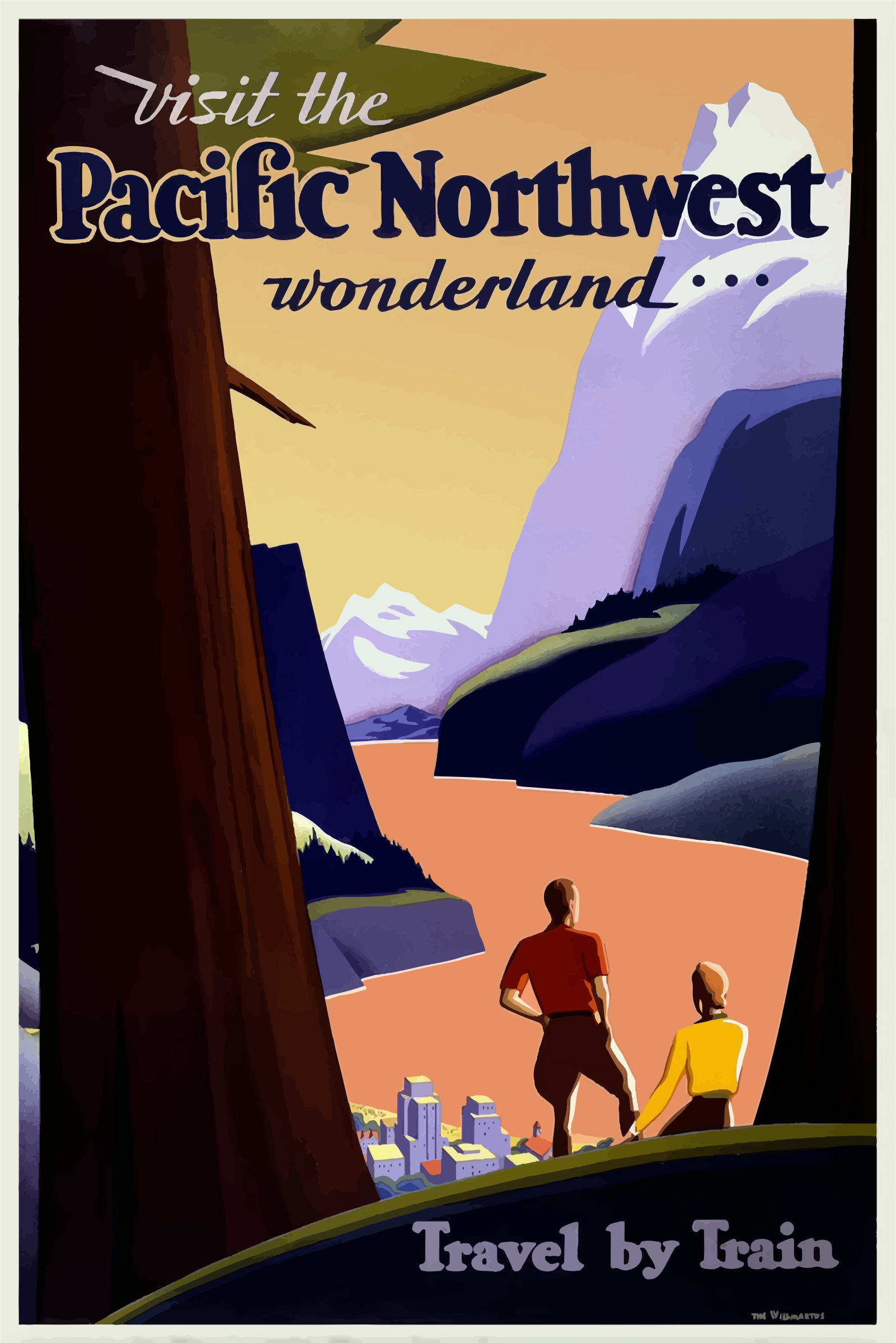 Vintage Travel Poster Pacific Northwest 2 by GDJ