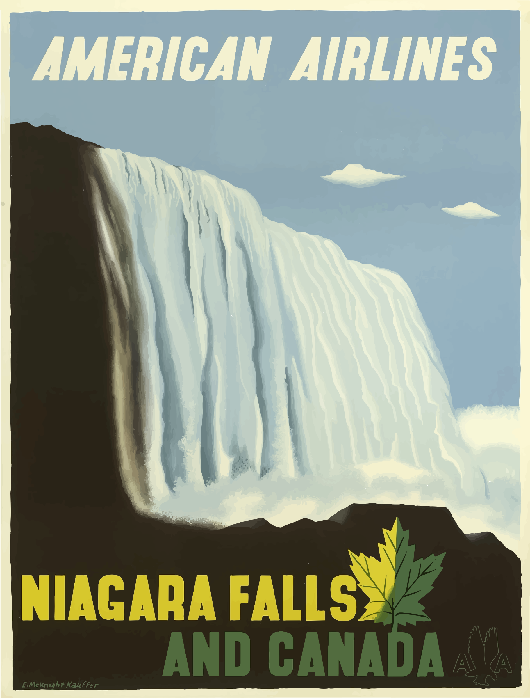 Vintage Travel Poster Niagara Falls And Canada by GDJ