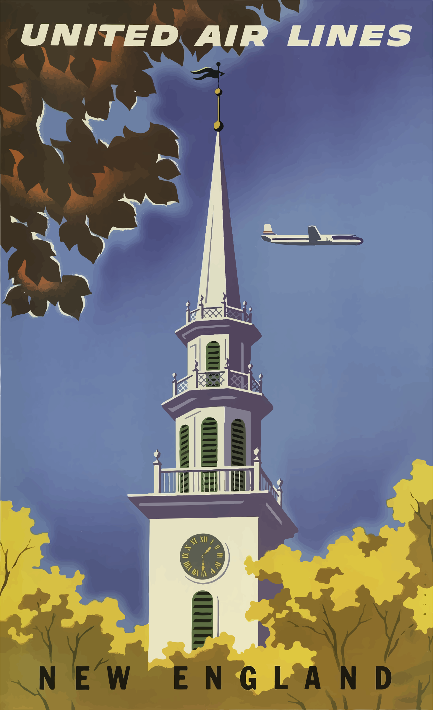 Vintage Travel Poster New England USA by GDJ