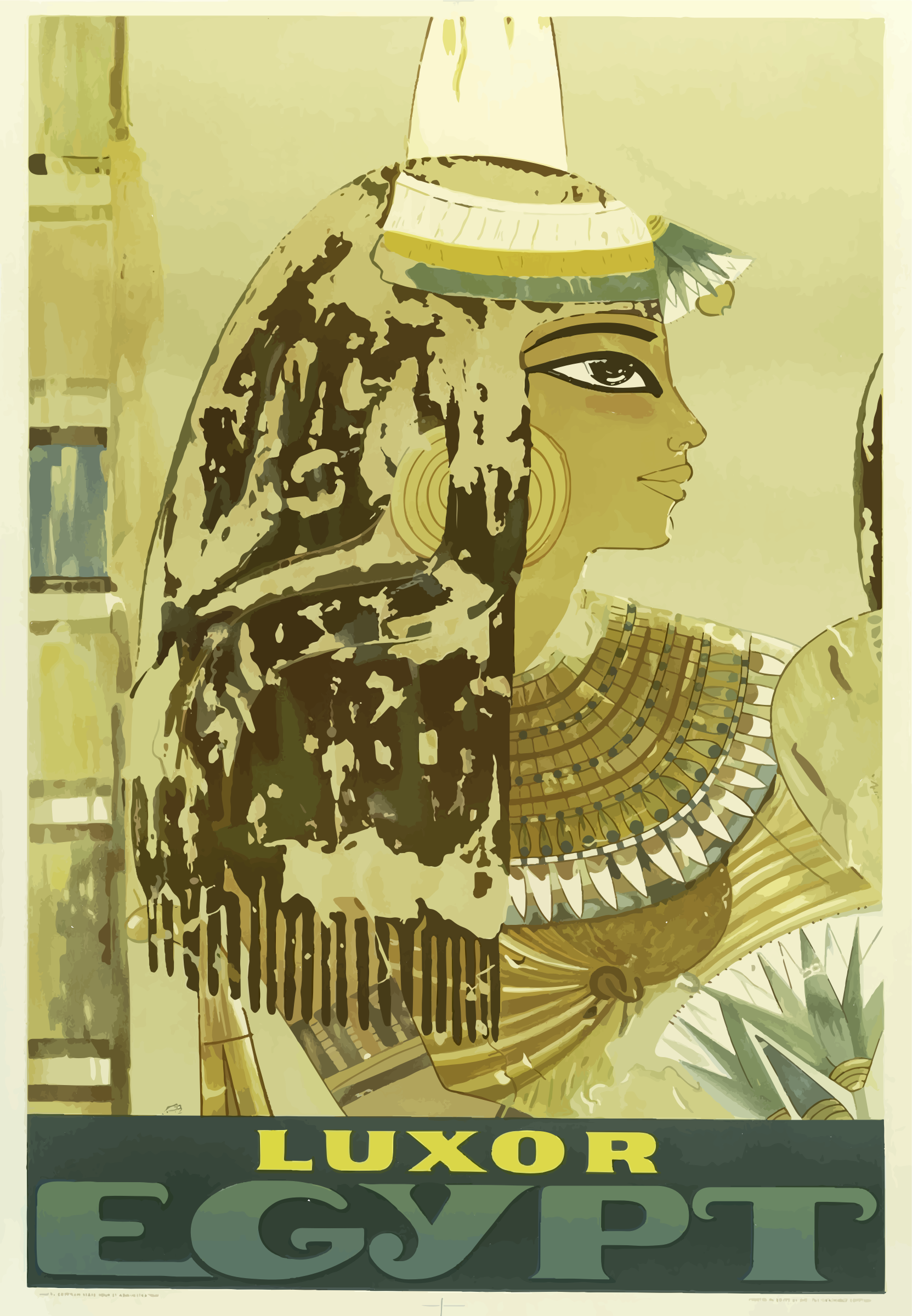 Vintage Travel Poster Luxor Egypt by GDJ