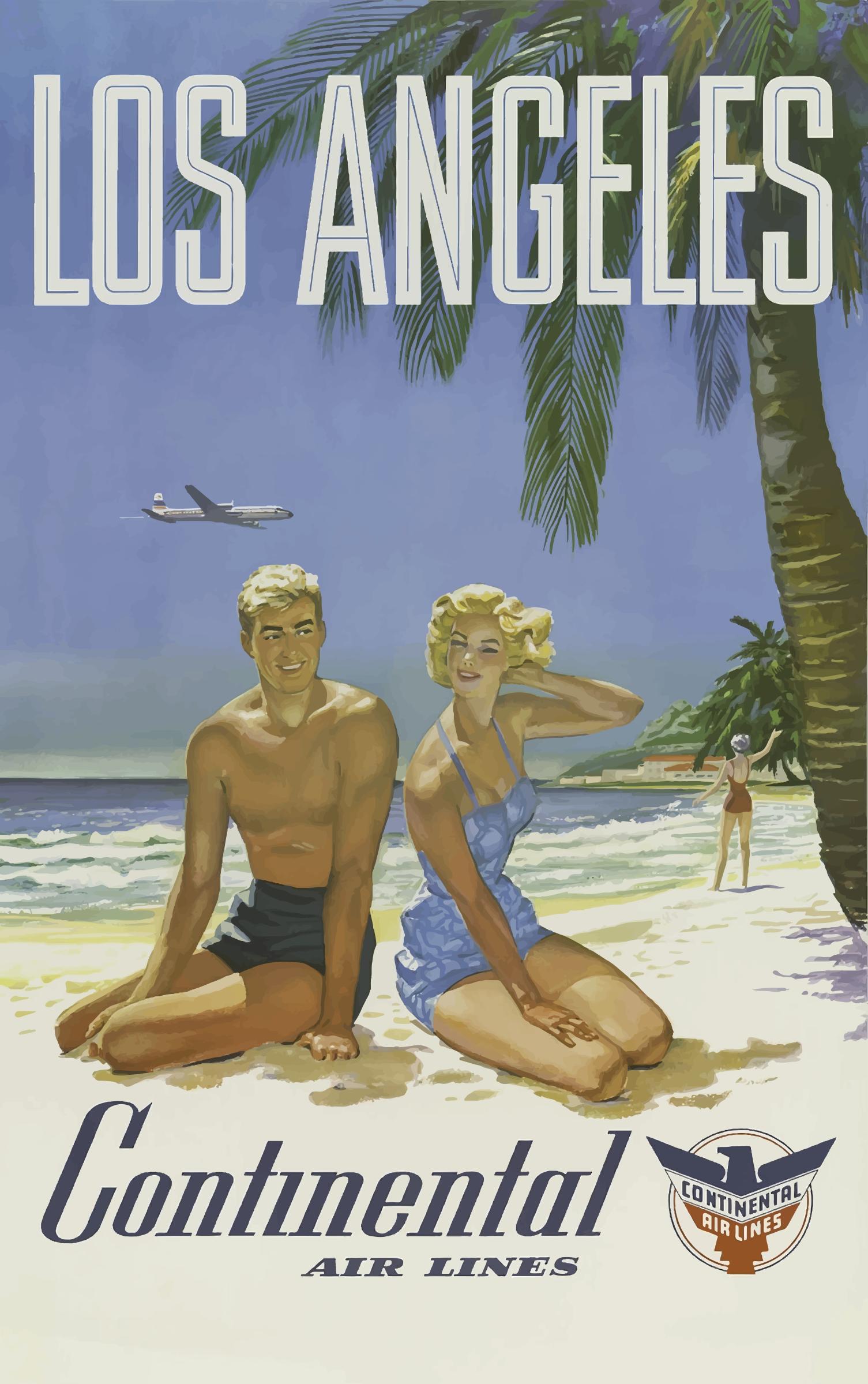 Clipart Vintage Travel Poster Los Angeles - Los angeles posters vintage