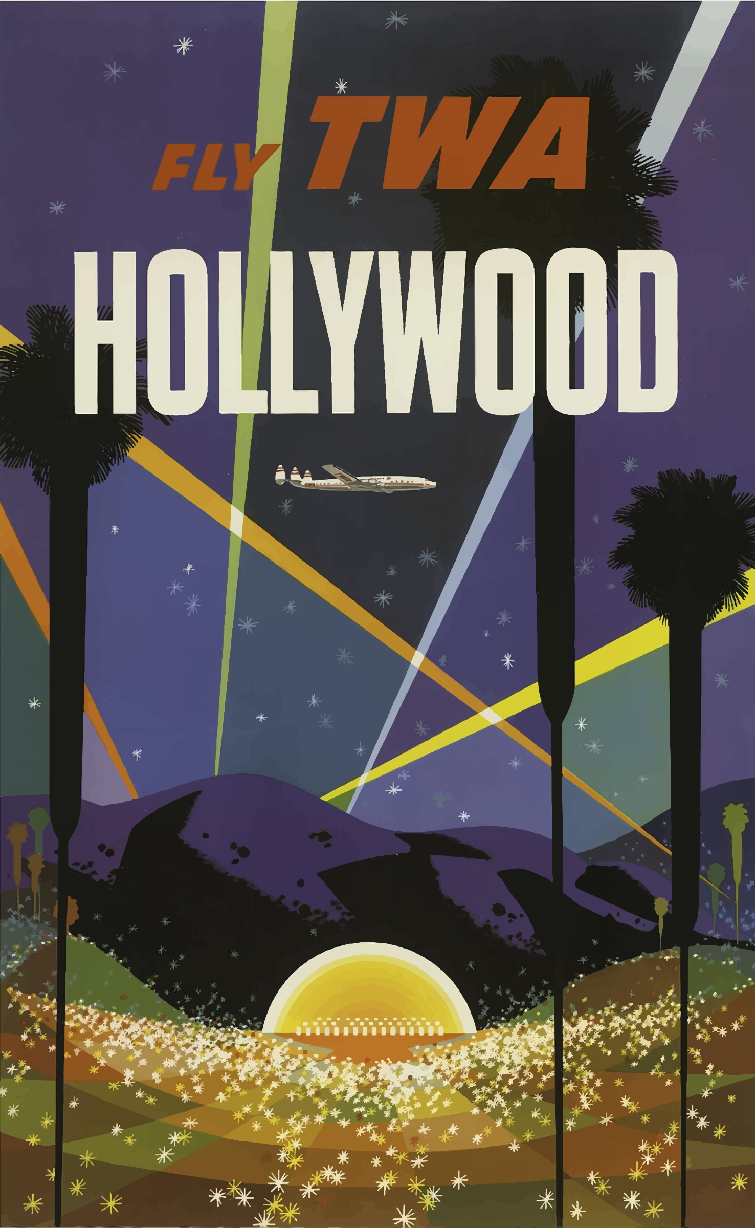 Vintage Travel Poster Hollywood California by GDJ