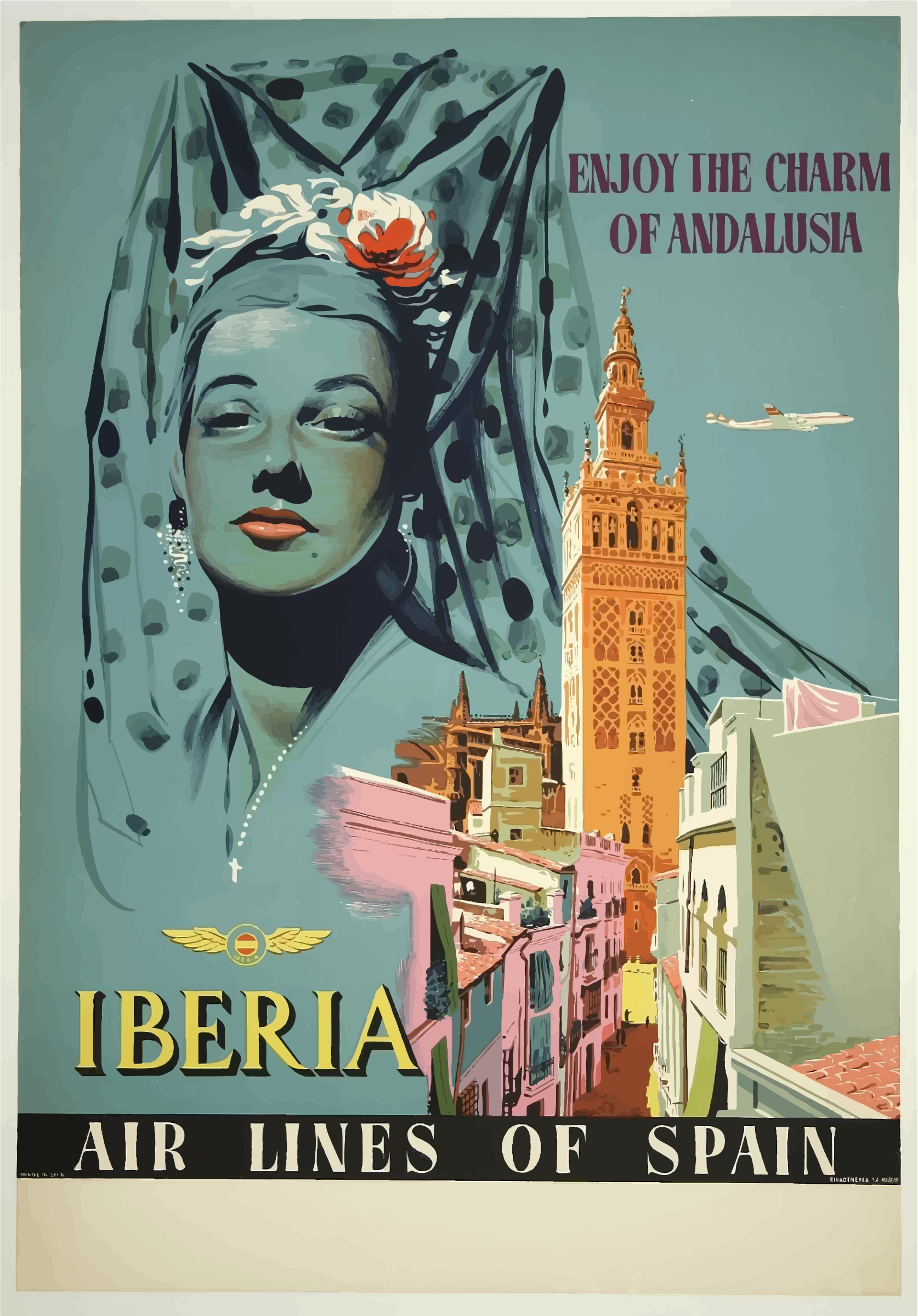 Vintage Travel Poster Andalusia Spain by GDJ