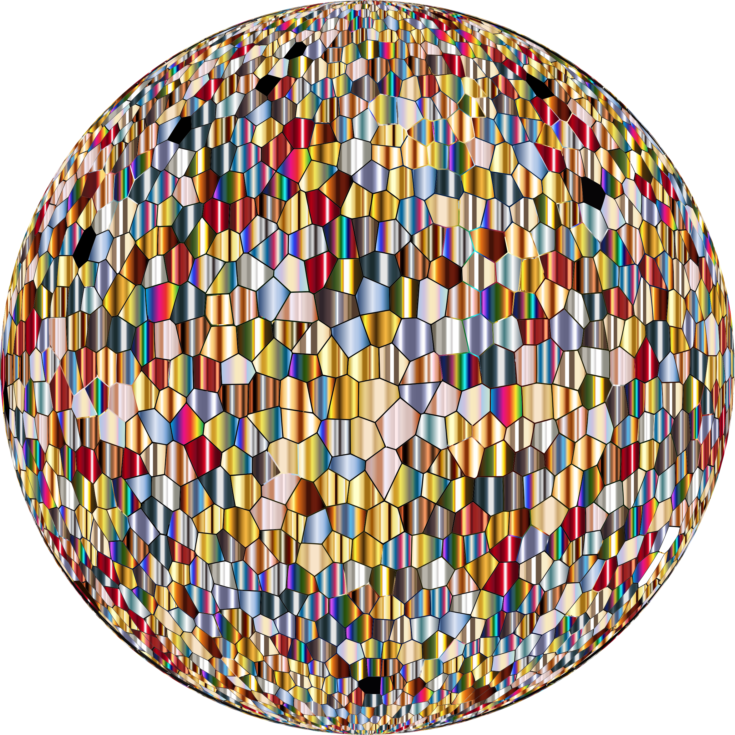 Shimmering Iridescent Mosaic Tiles Sphere by GDJ