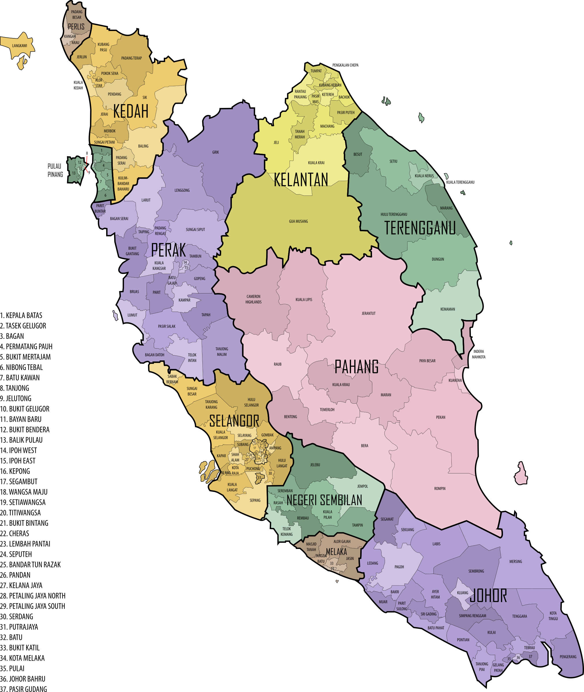 Malaysian Parliament Constituencies, 2015 (Peninsular Malaysia) by derkommander0916