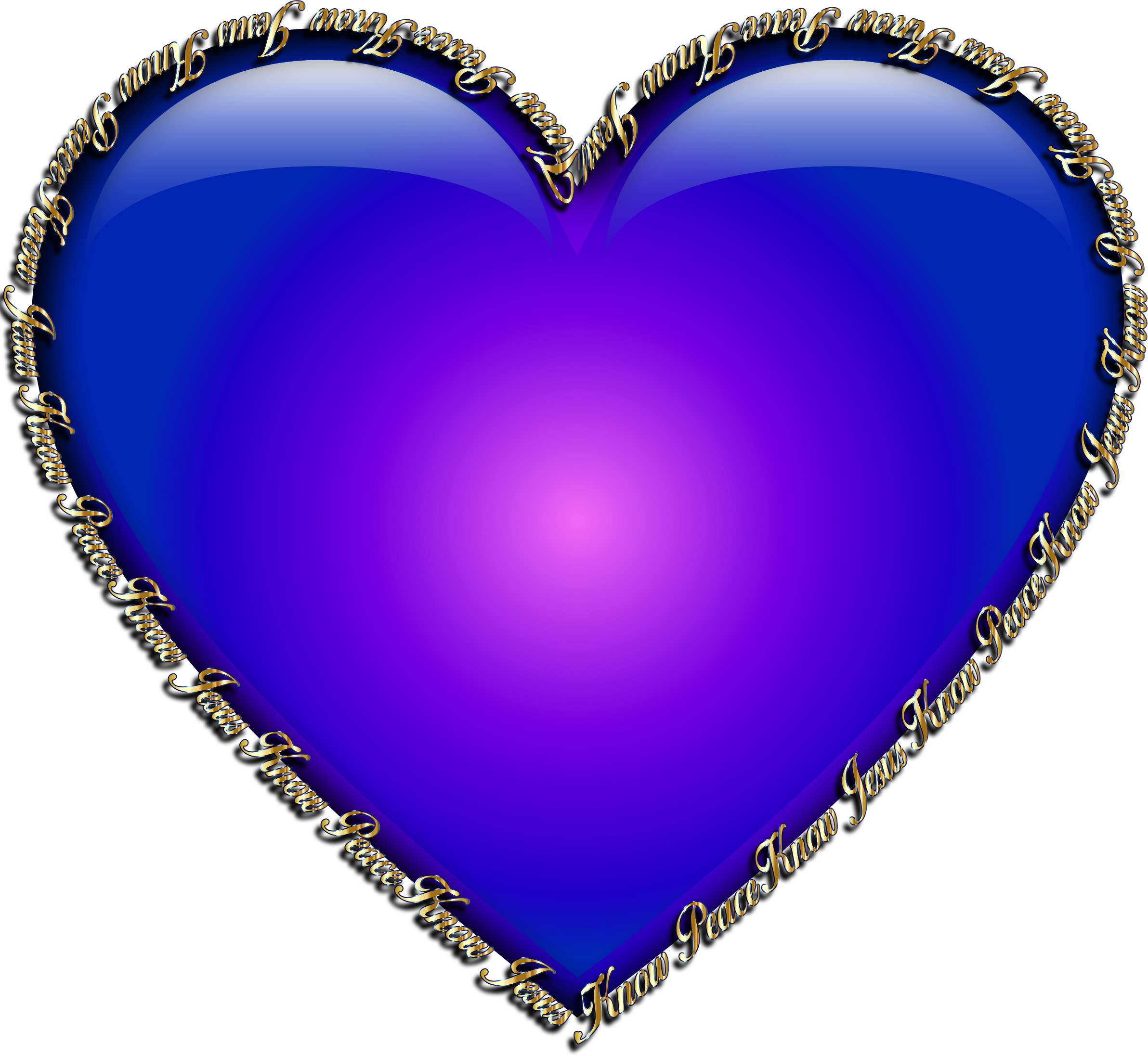 Clipart - Know Jesus Know Peace Heart Blue