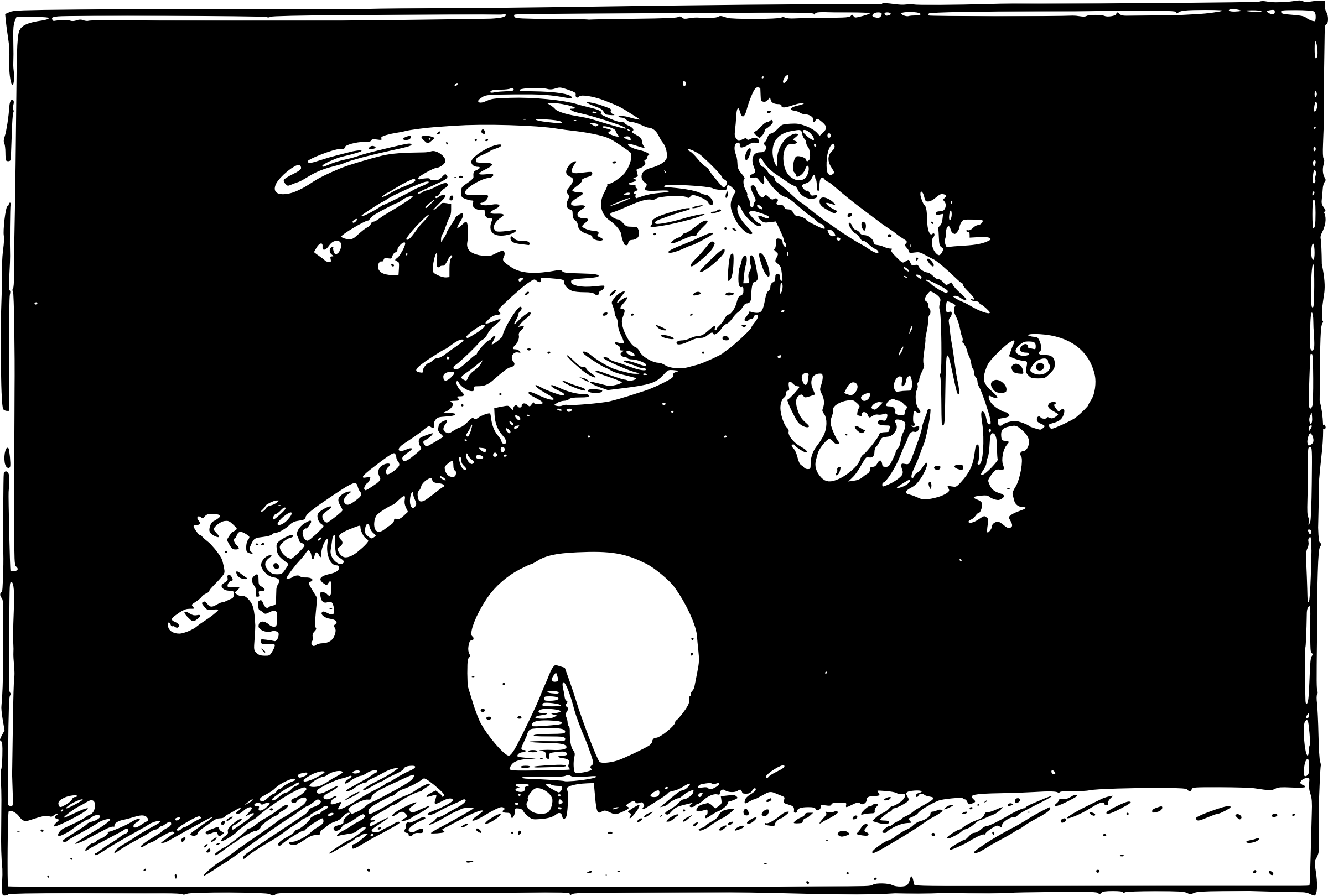 Flying Stork and Baby by j4p4n