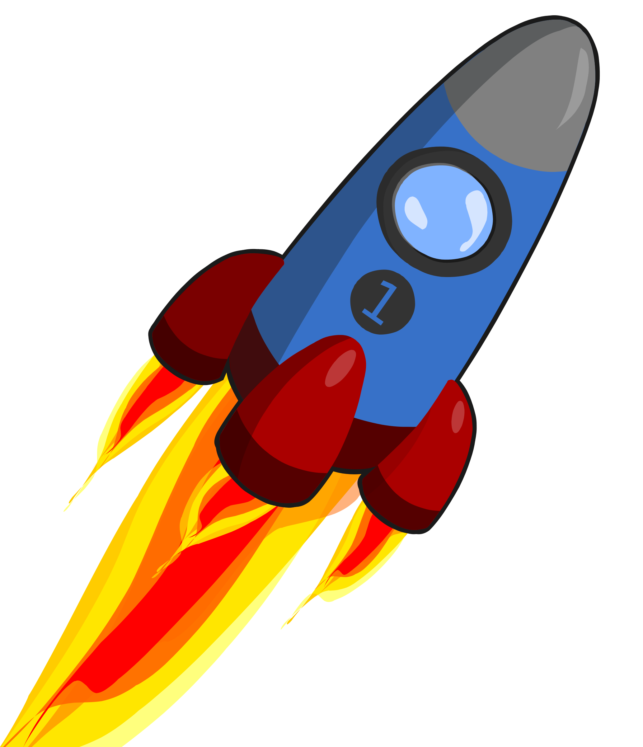 clipart animation of rocket blue and red