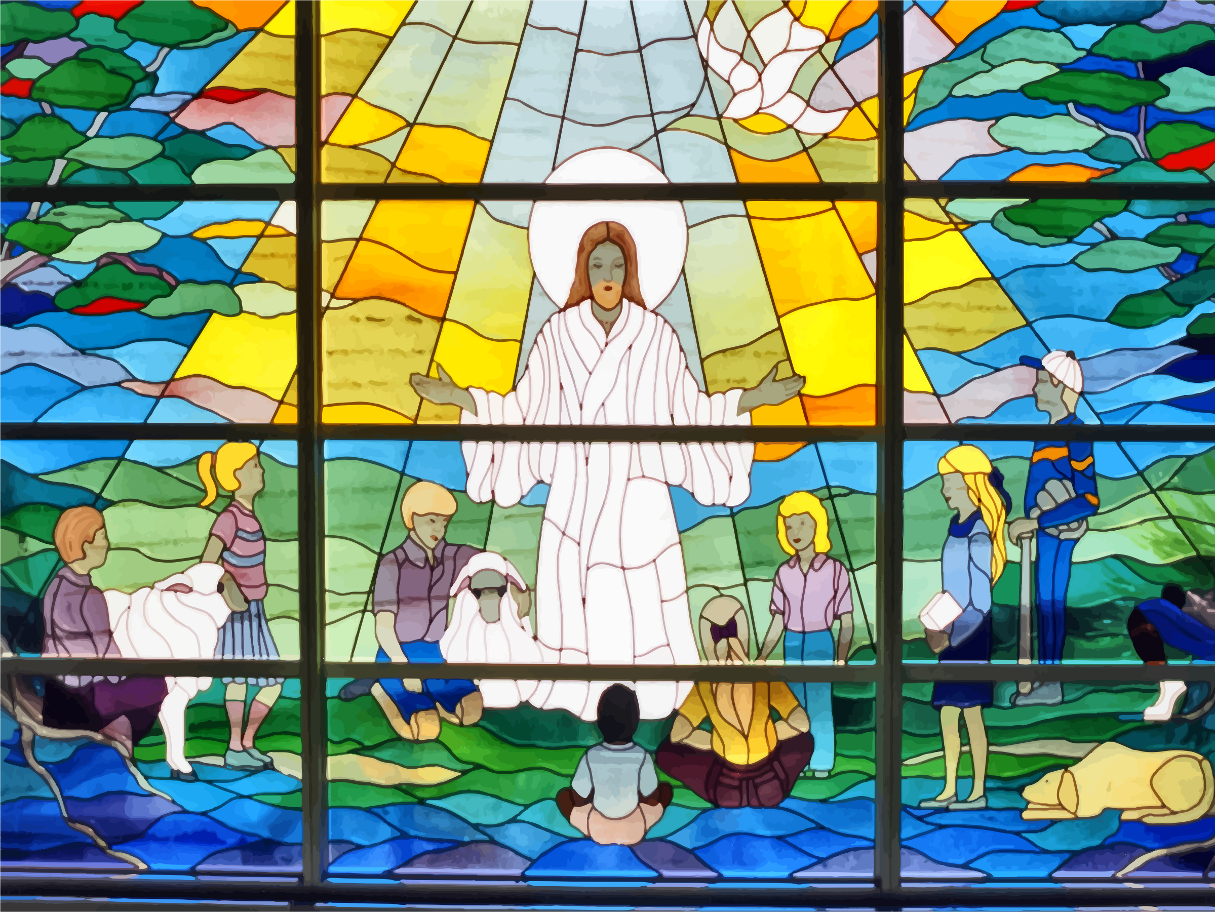 Jesus Prayer Stained Glass Window by GDJ