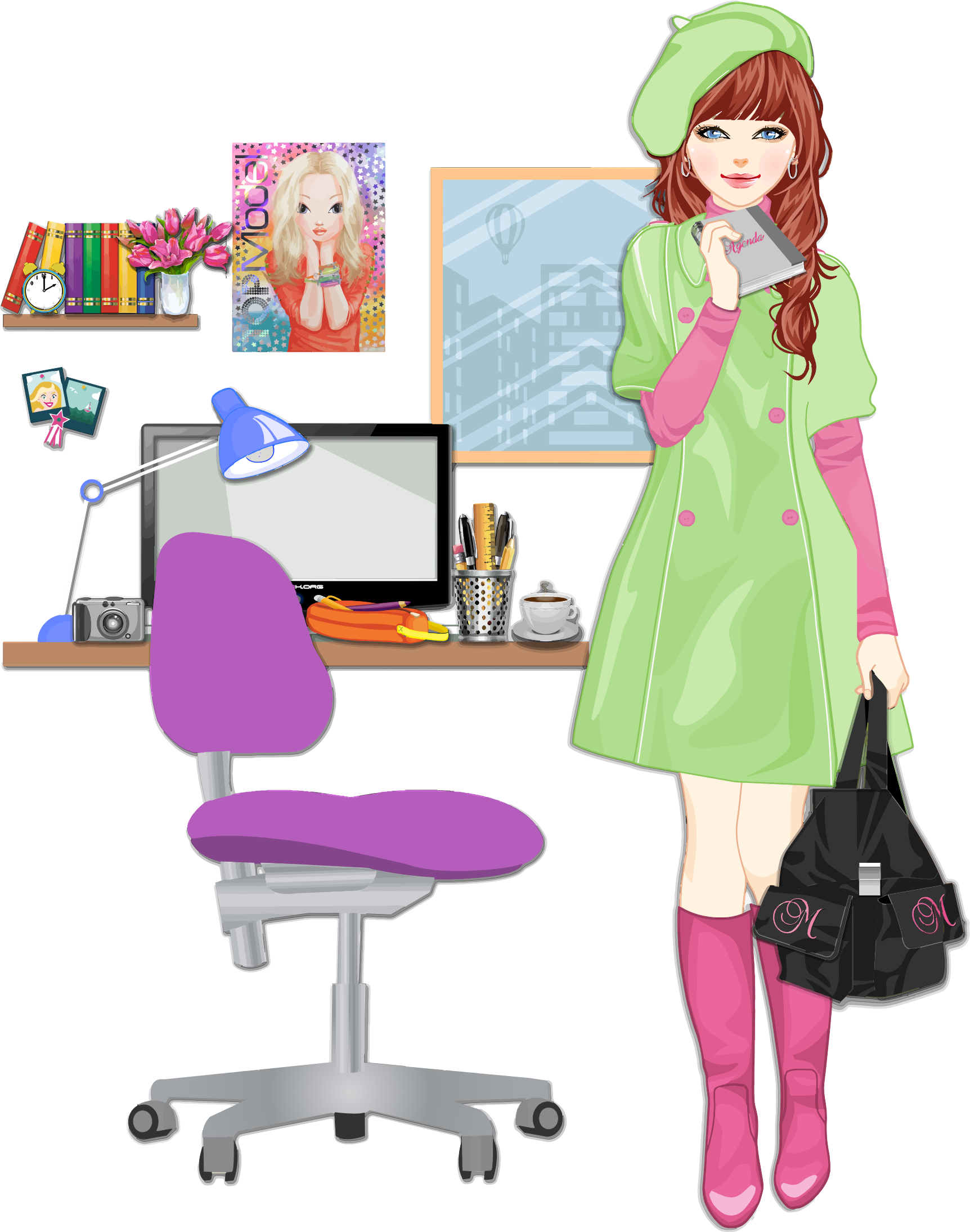 Clipart Girls Room : Girls Room <strong>Light Pink</strong> Girls Desk Chair from openclipart.org size 1724 x 2189 png 1107kB
