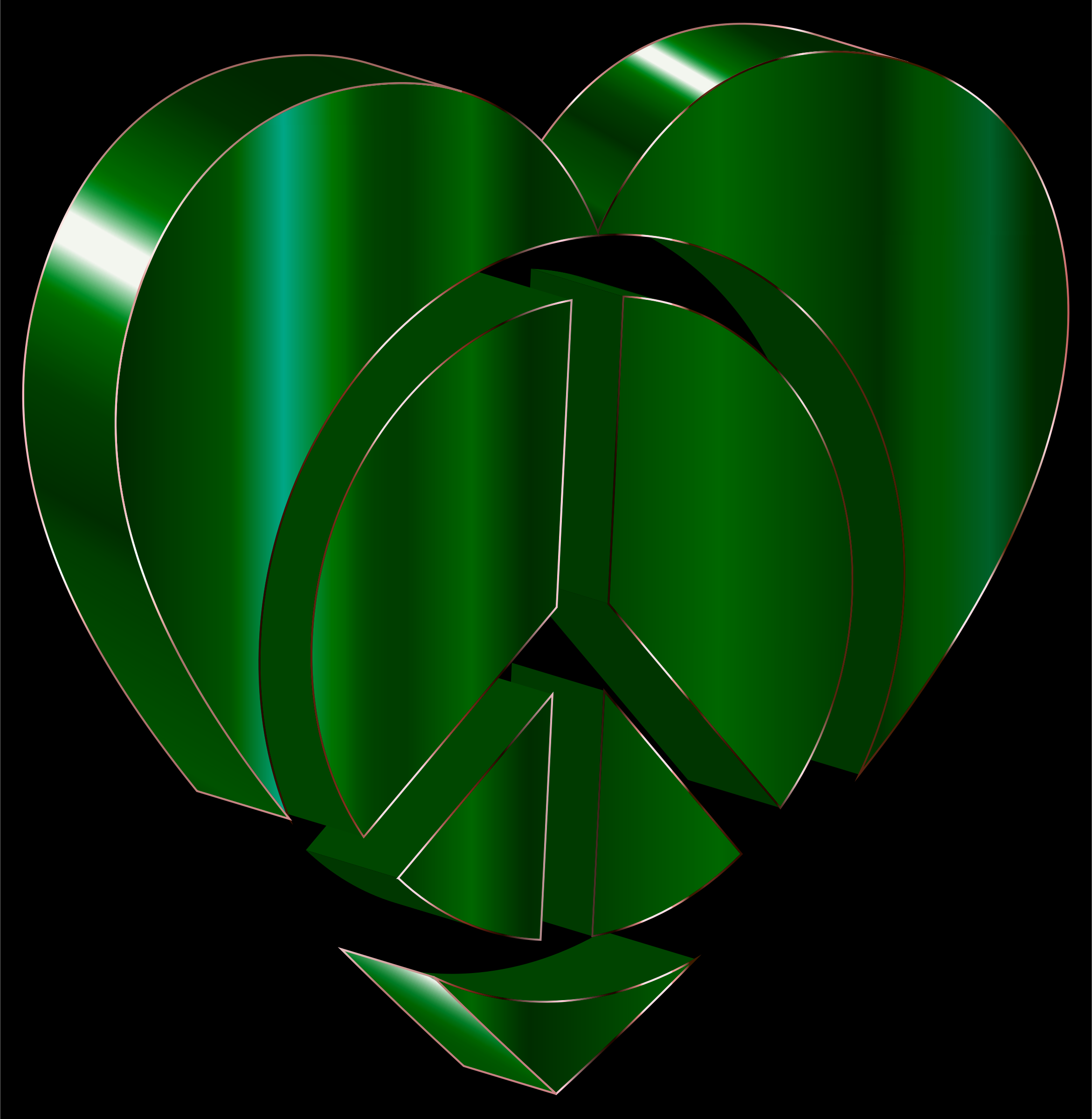 3D Peace Heart Emerald by GDJ