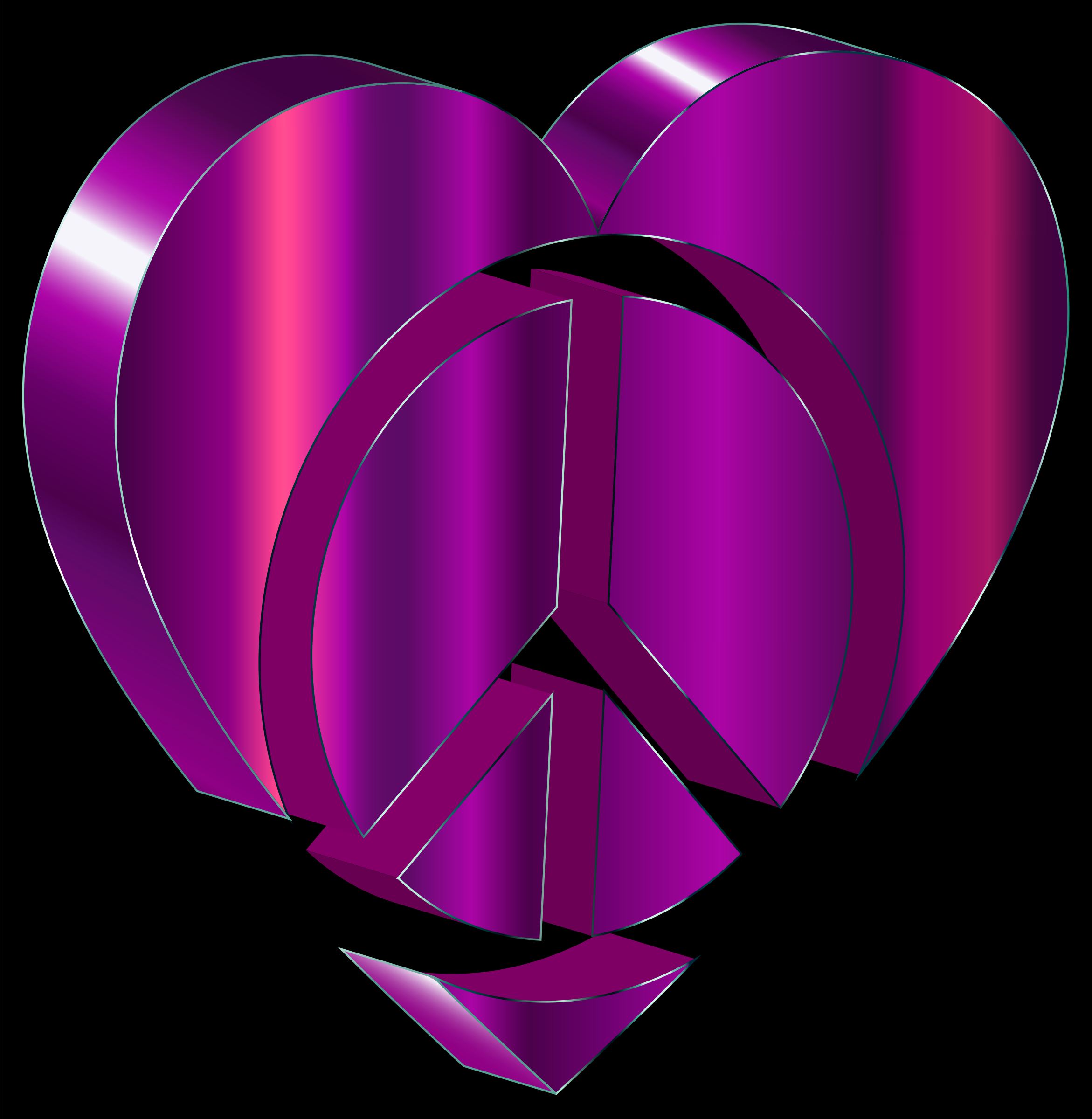 3D Peace Heart Amethyst by GDJ