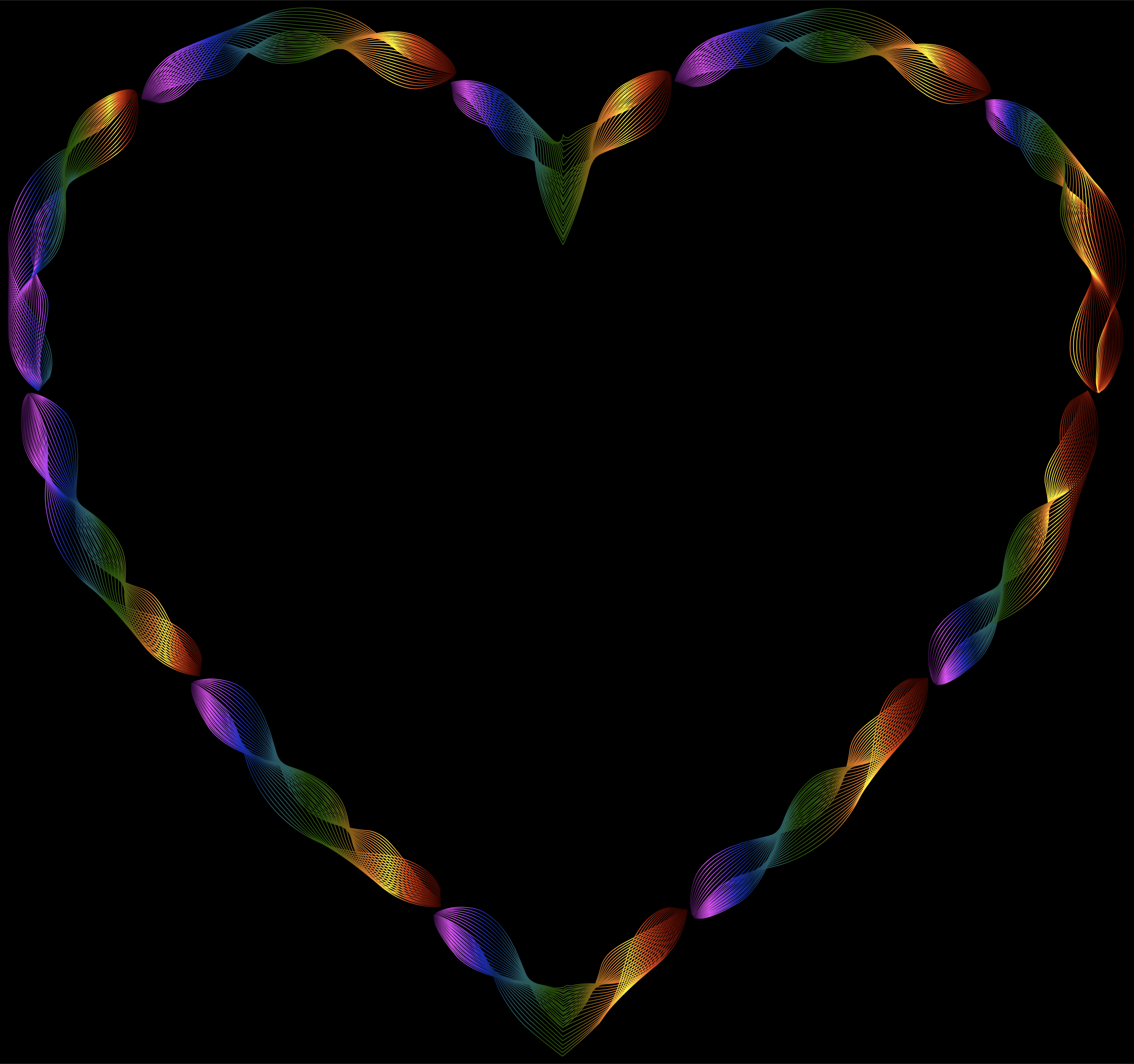 Rainbow Line Art Heart by GDJ