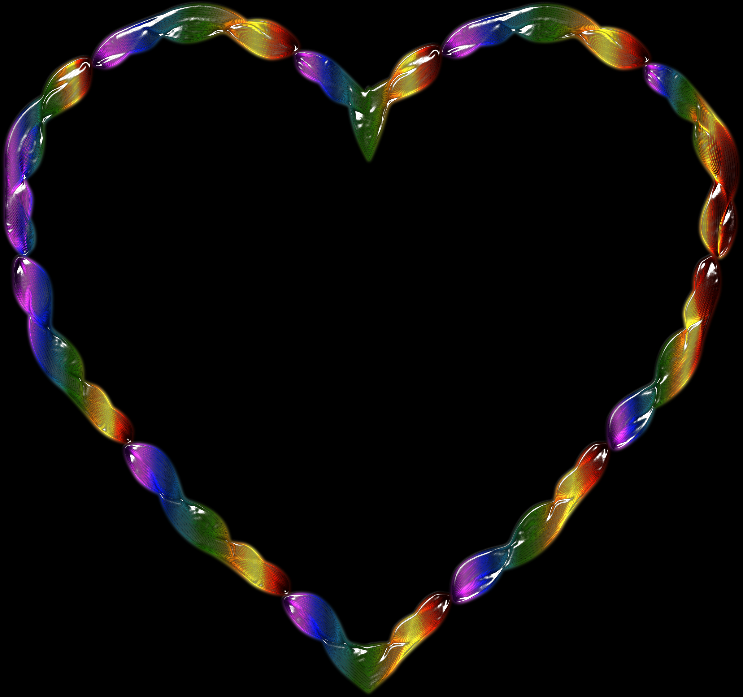 Rainbow Line Art Heart 2 by GDJ