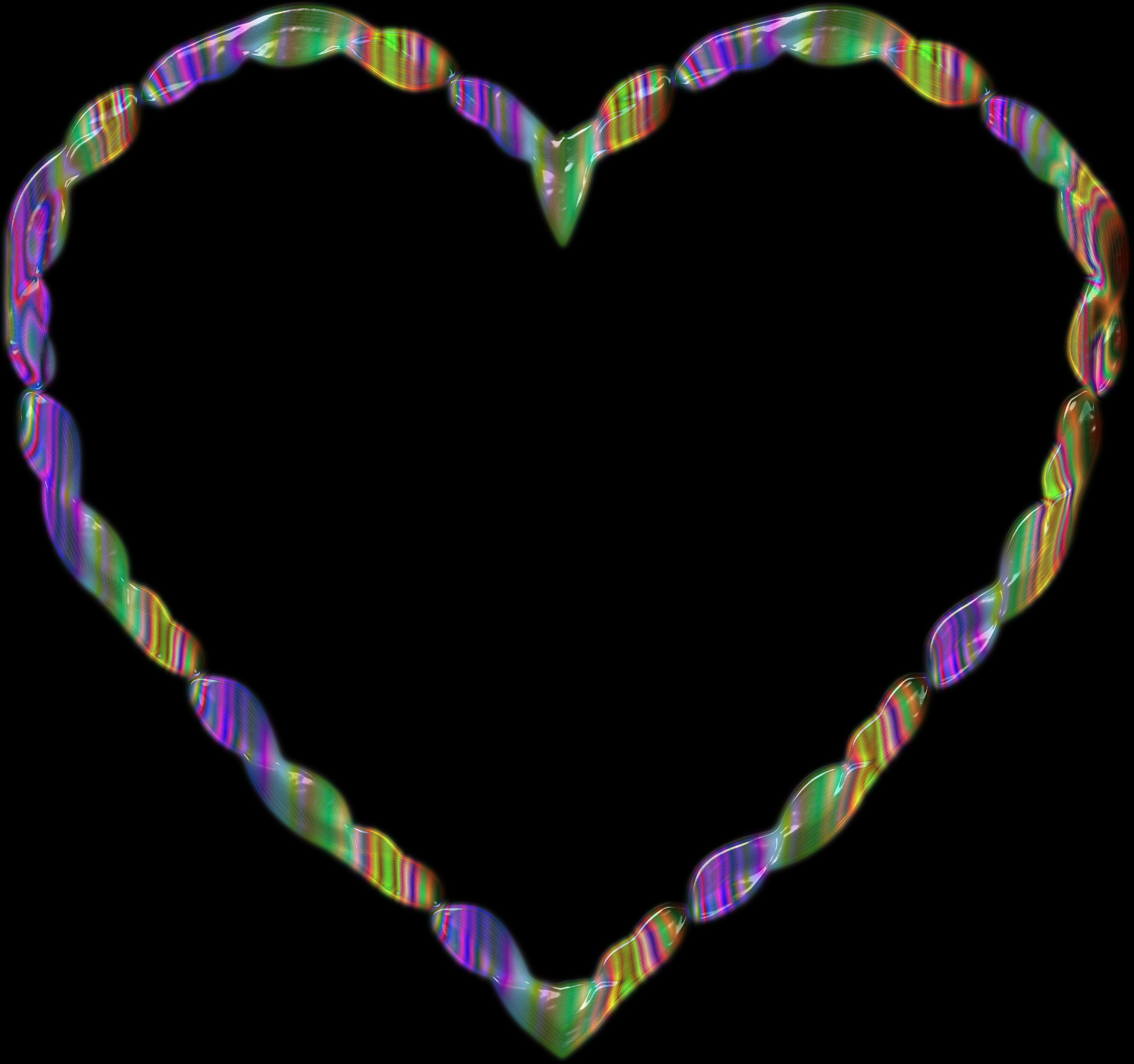 Rainbow Line Art Heart 3 by GDJ