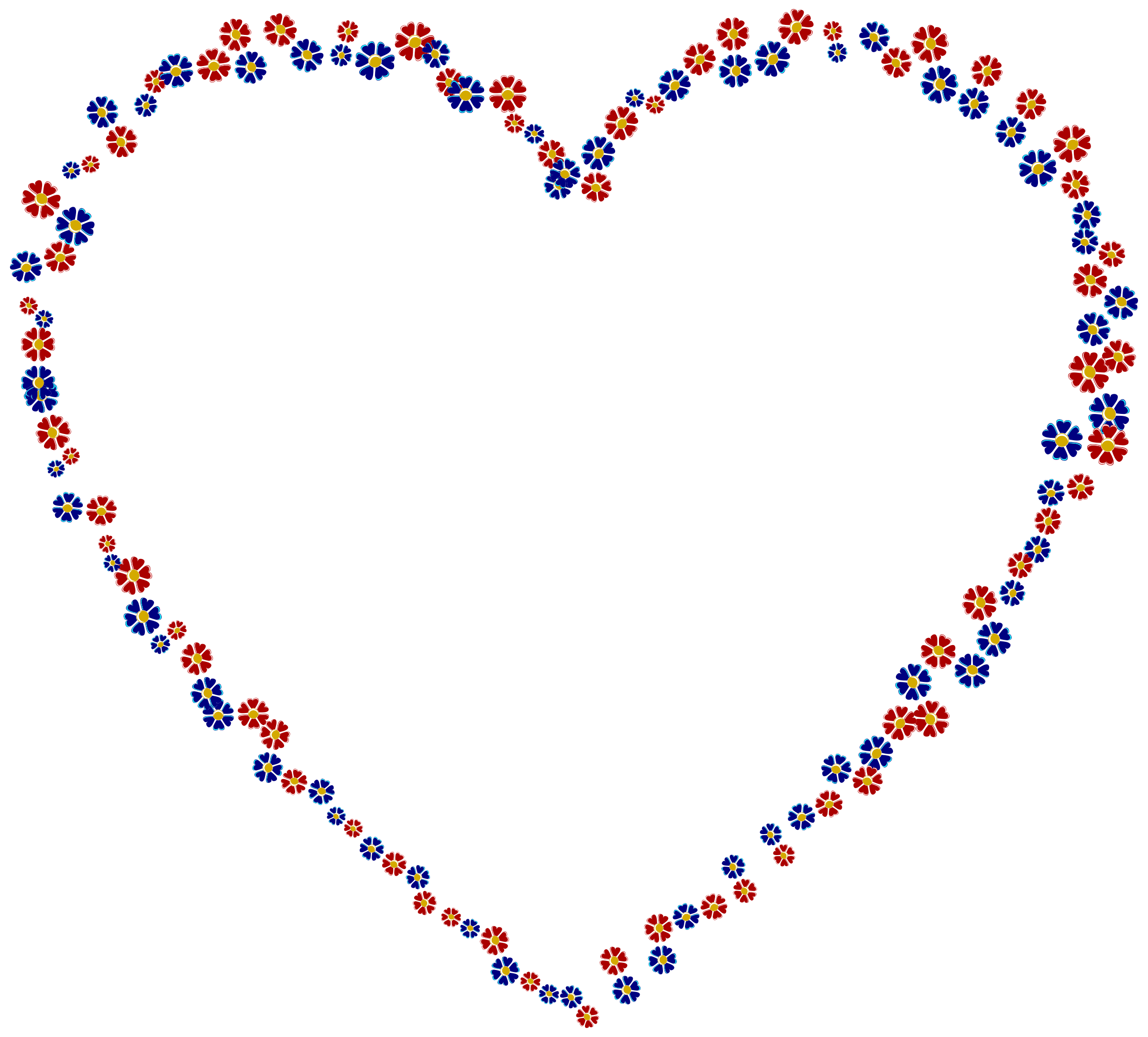 Red And Blue Floral Heart by GDJ