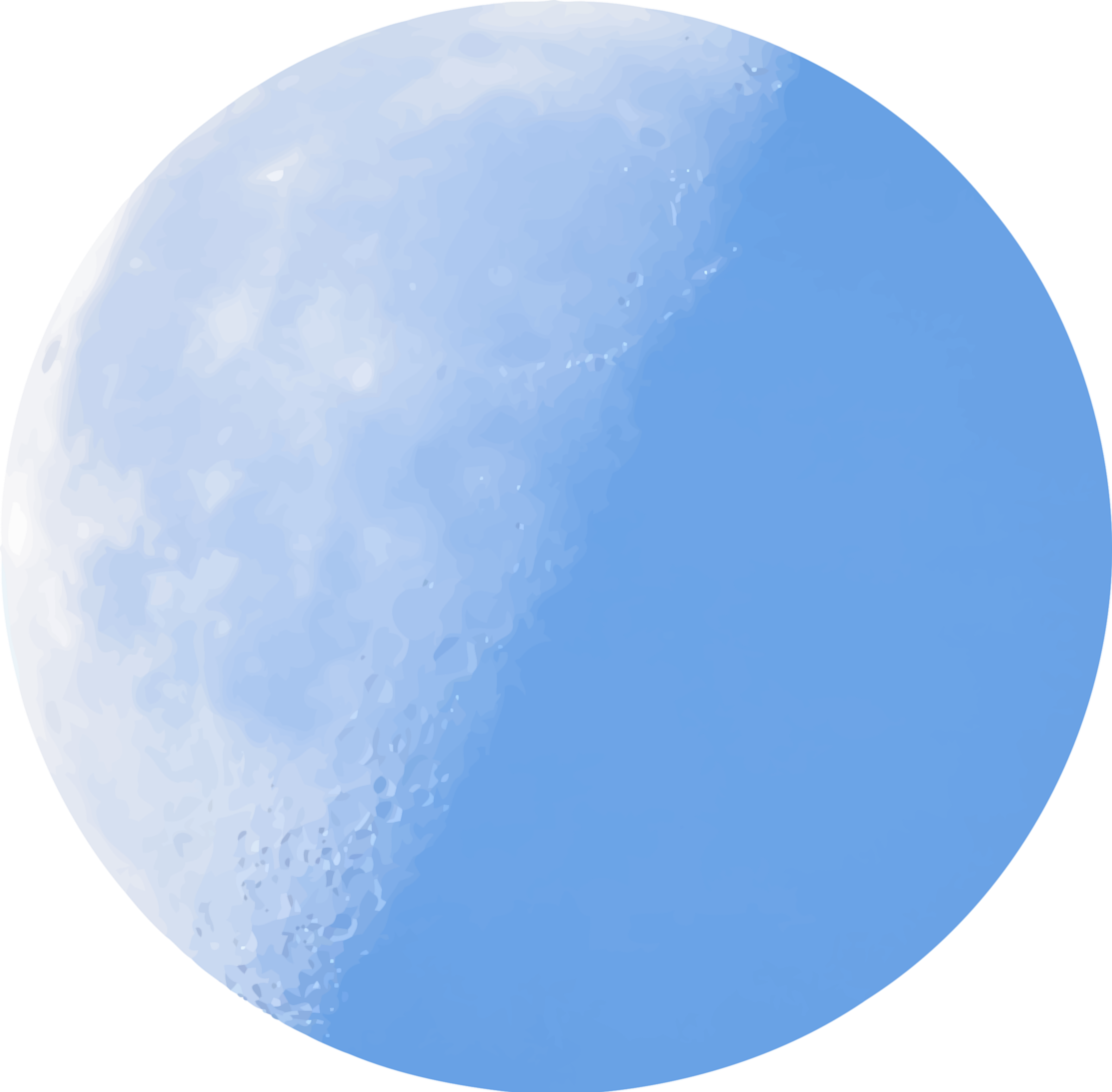 Isolated half-moon in daylight by Firkin