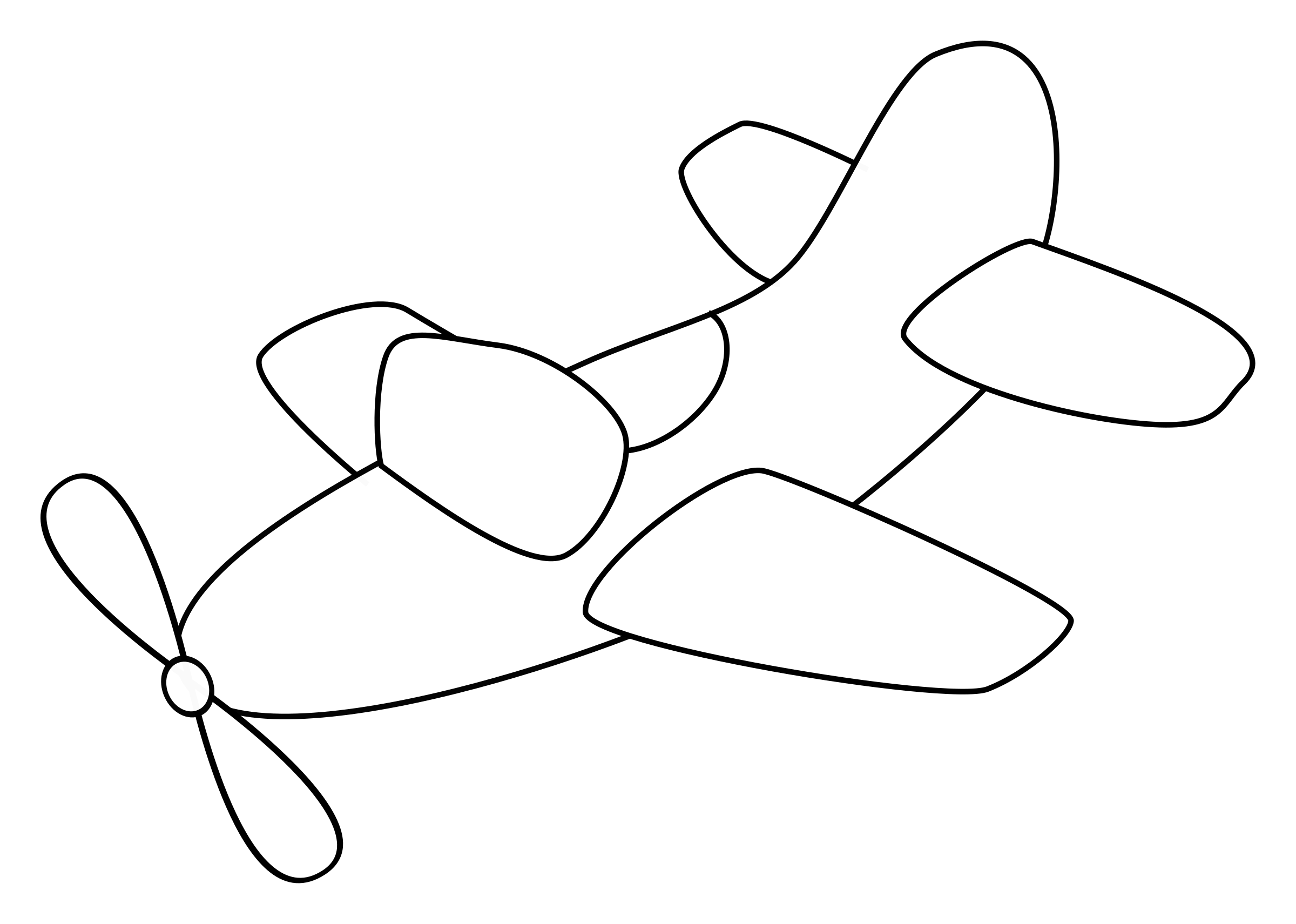 Airplane with propeller - outline by spacefem
