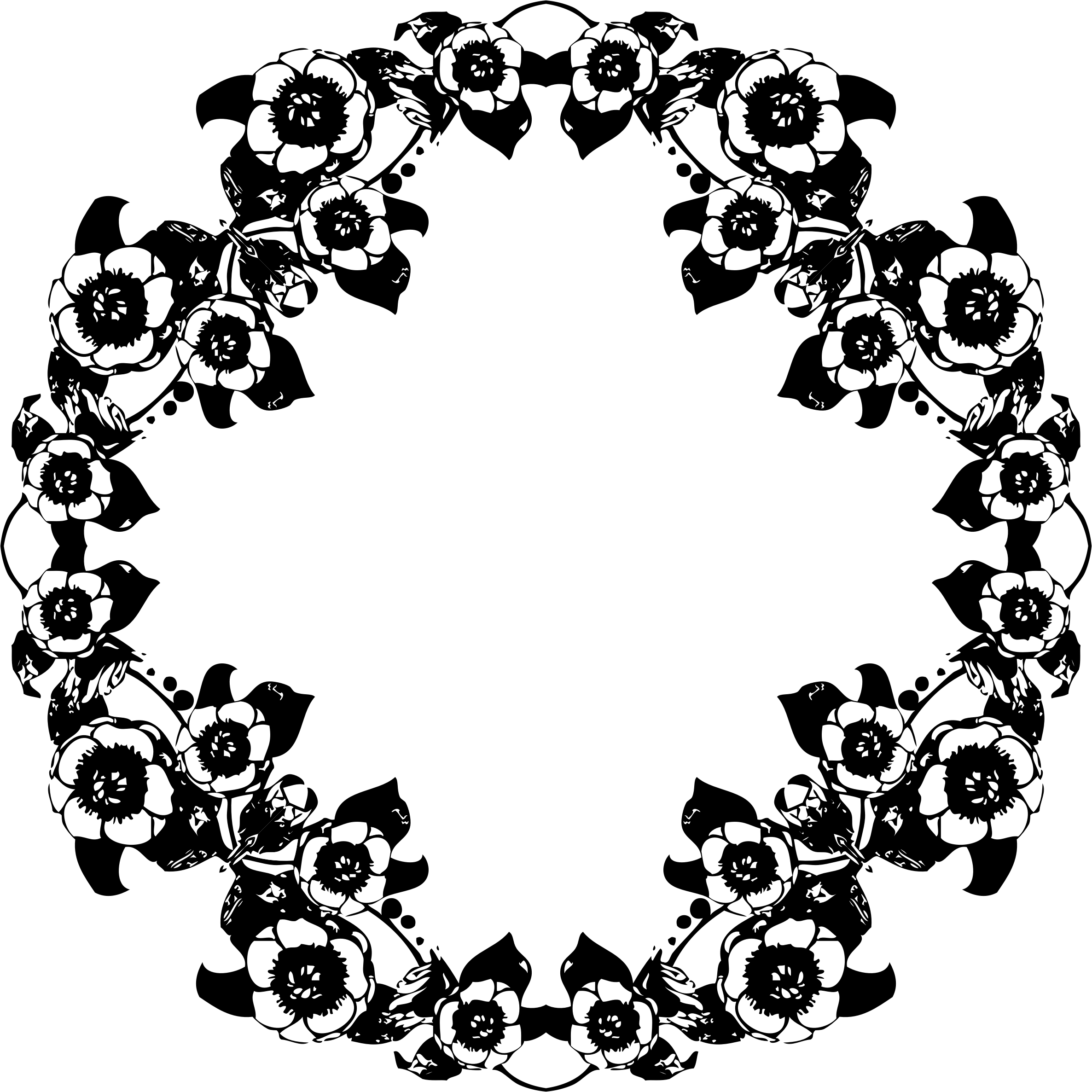Vintage Floral Pattern Black And White Png
