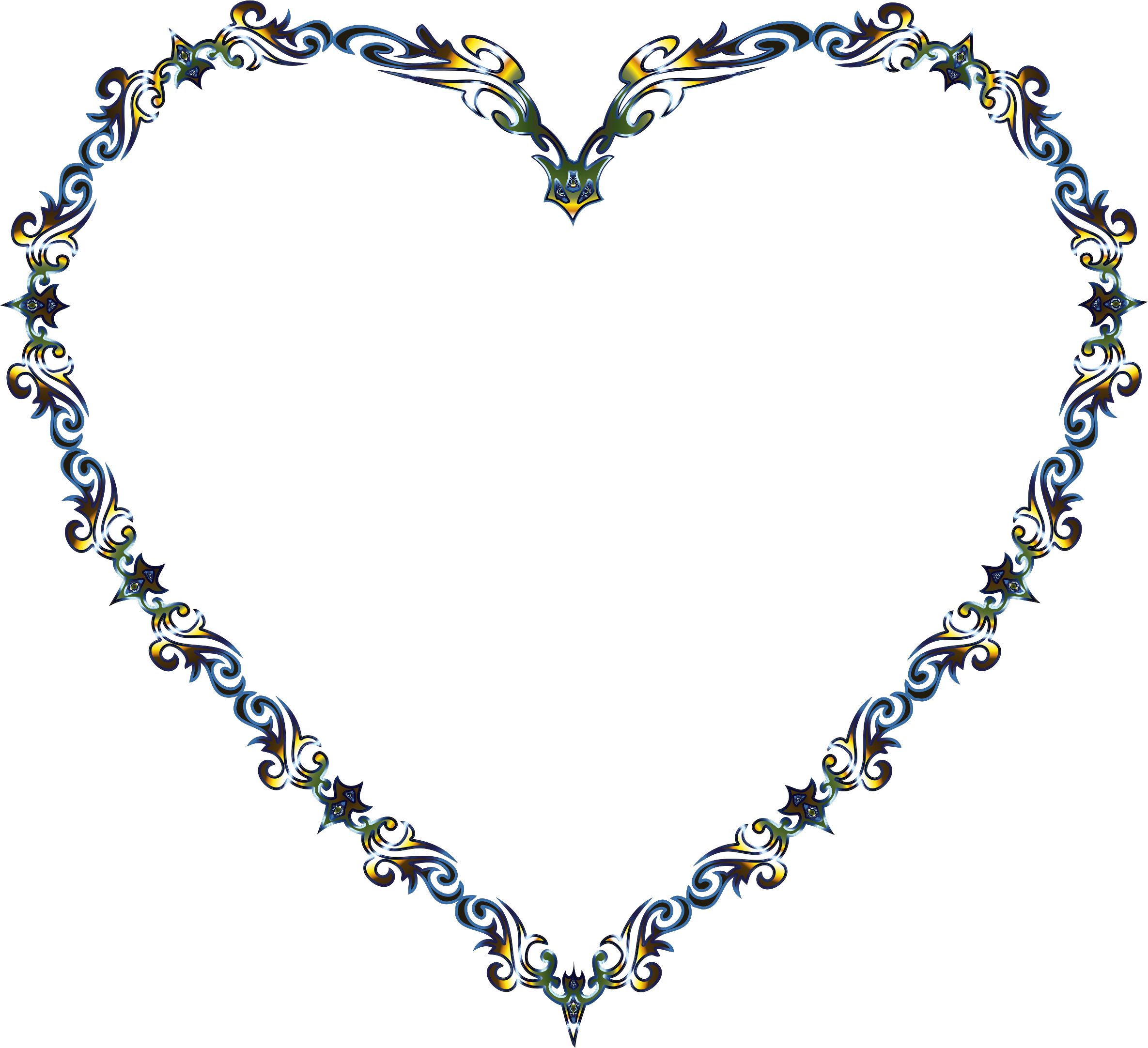 Colorful Fancy Decorative Line Art Heart 3 by GDJ